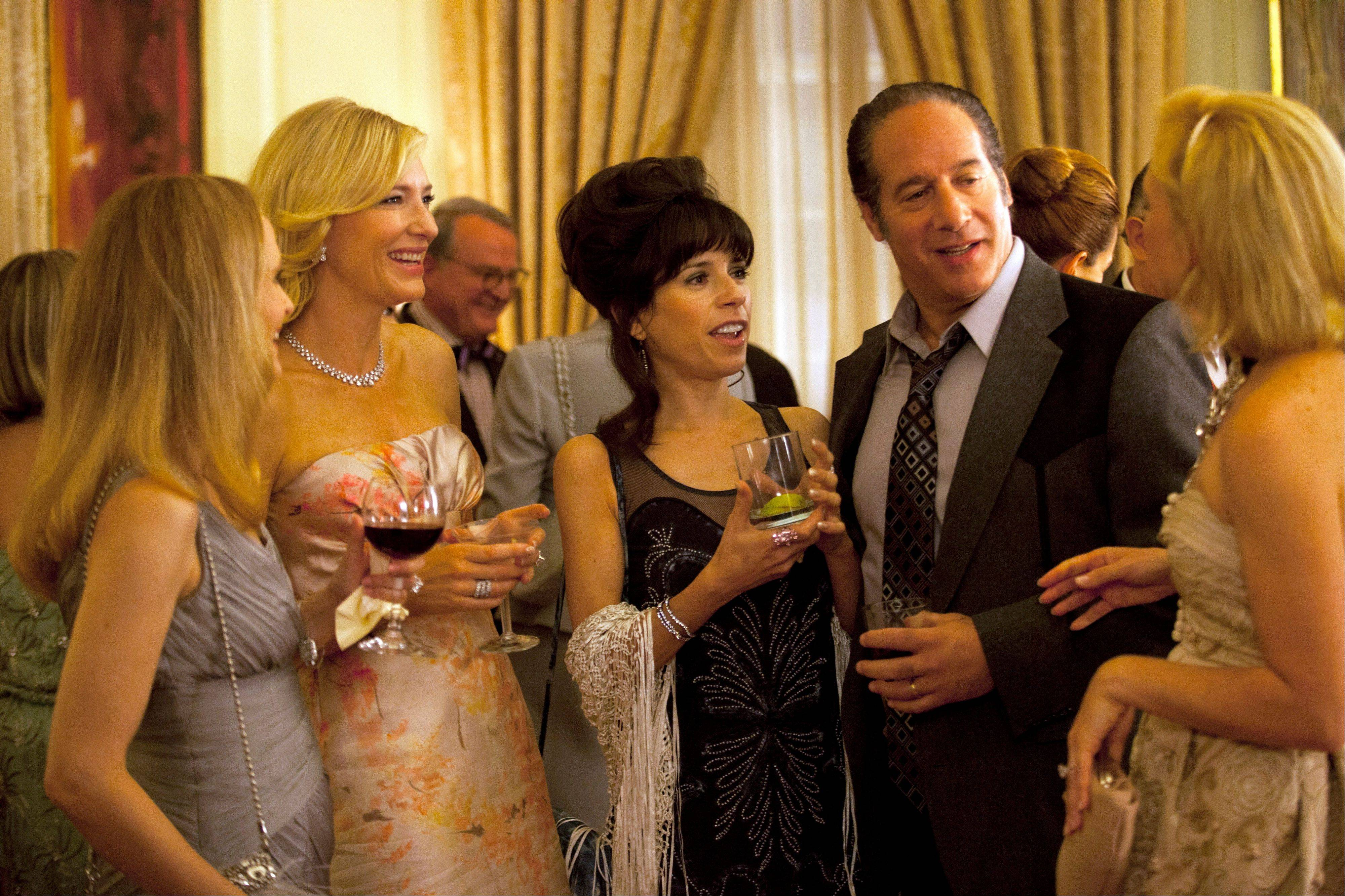 "Cate Blanchette, Sally Hawkins and Andrew Dice Clay in a scene from the Woody Allen film, ""Blue Jasmine."" ""Blue Jasmine,"" ""Nebraska"" and ""American Hustle"" have been nominated for Writers Guild honors, continuing their imprint on Hollywood's awards season. The three comedies gained nods on Friday for exceptional screen writing."