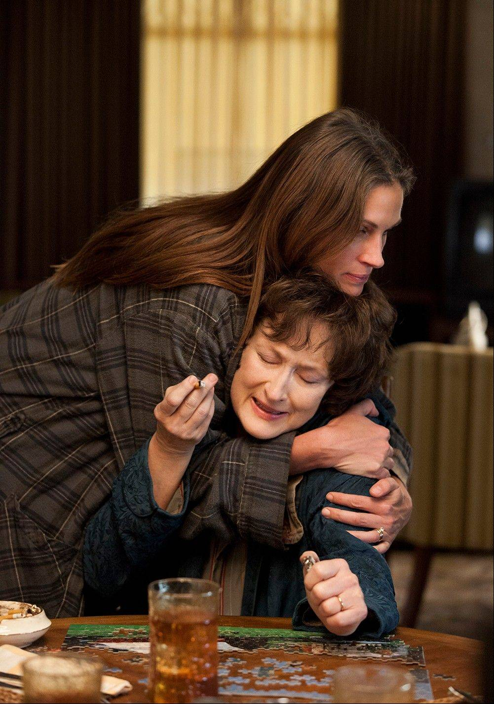 "Julia Roberts and Meryl Streep star in ""August: Osage County."" The film is nominated for a Writers Guild Award for adapted screenplay. The Writers Guild Award winners will be honored on Feb. 1, 2014."