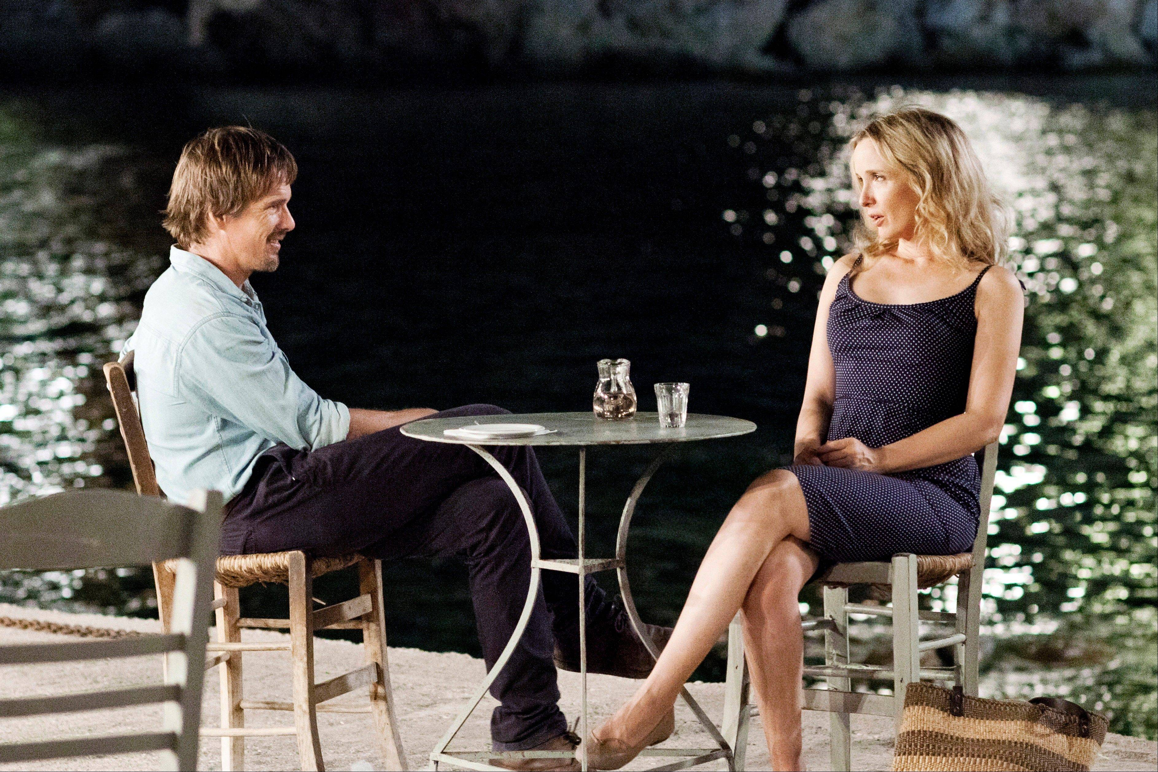 "Ethan Hawke, left, and Julie Delpy star in ""Before Midnight,"" which was nominated for a Writers Guild Award for adapted screenplay Friday."
