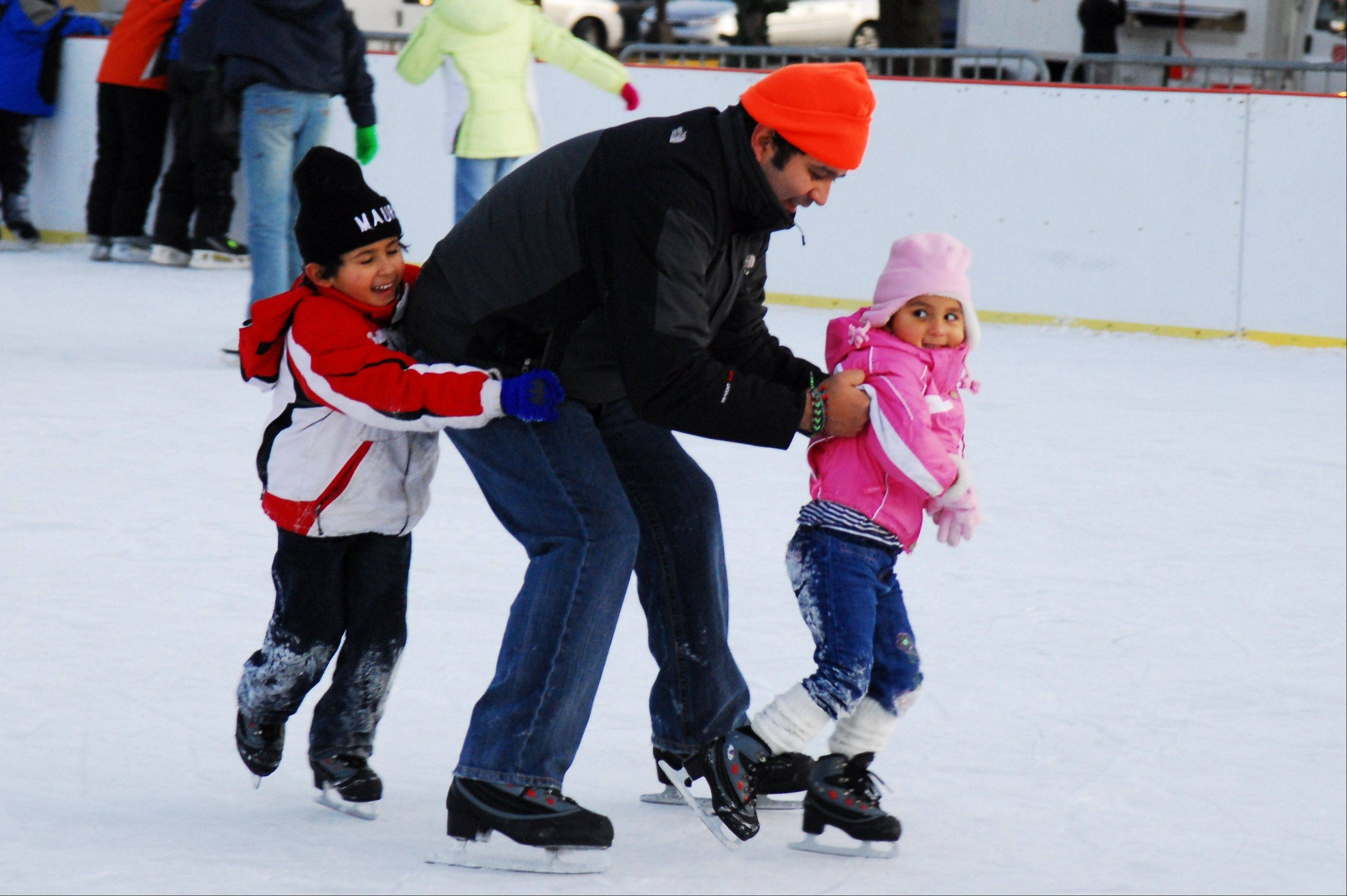 Skaters can take to the ice at Elgin's Civic Center Plaza.