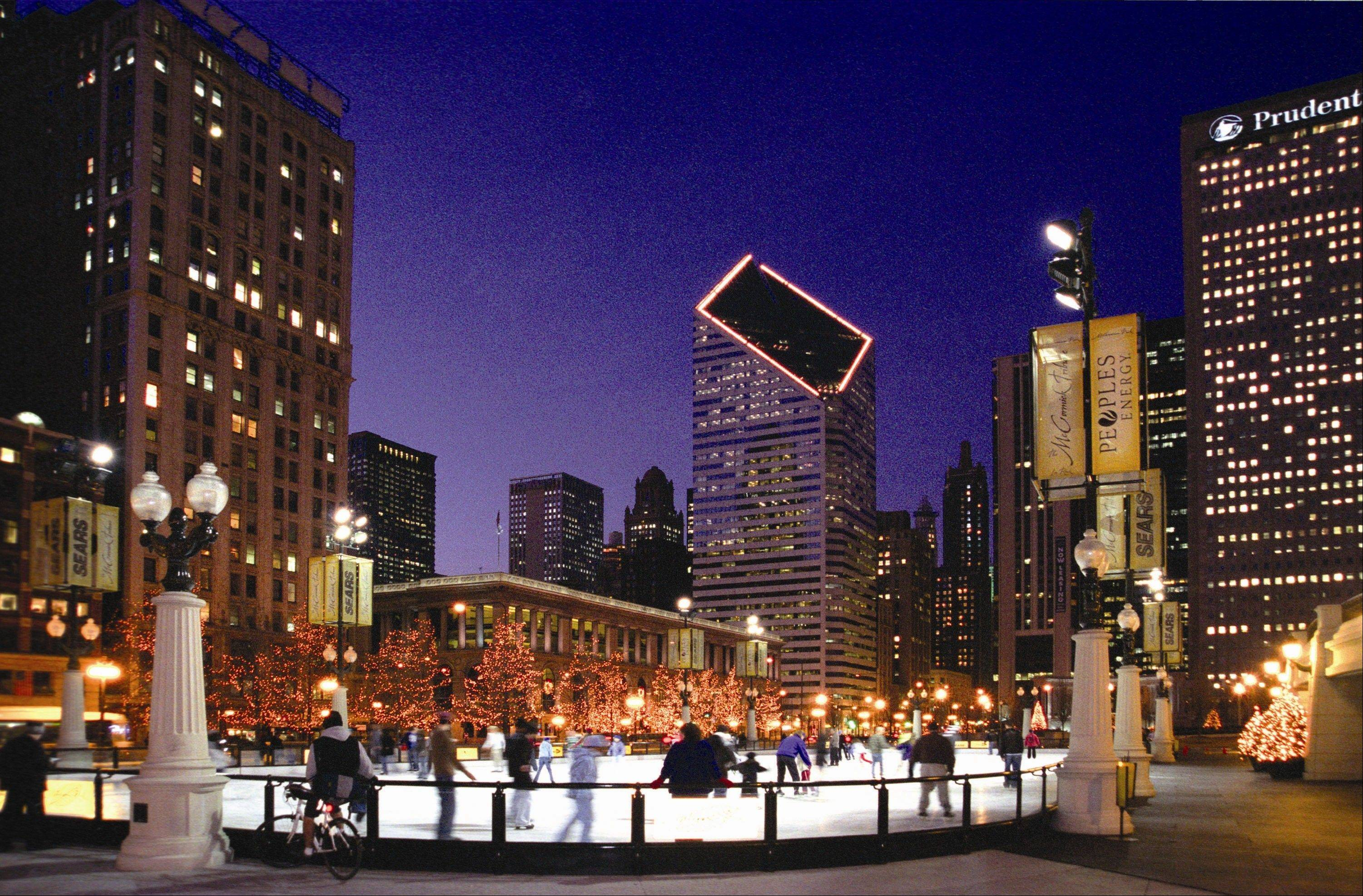 The view of Chicago's skyline is a big plus at Millennium Park's rink.