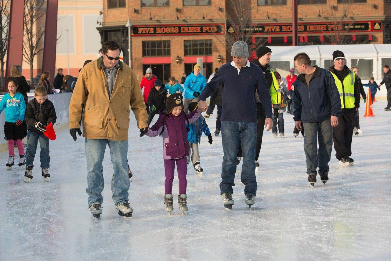 MB Financial Park's outdoor rink in Rosemont allows families to pair skating with dinner, a movie or an afternoon of bowling.