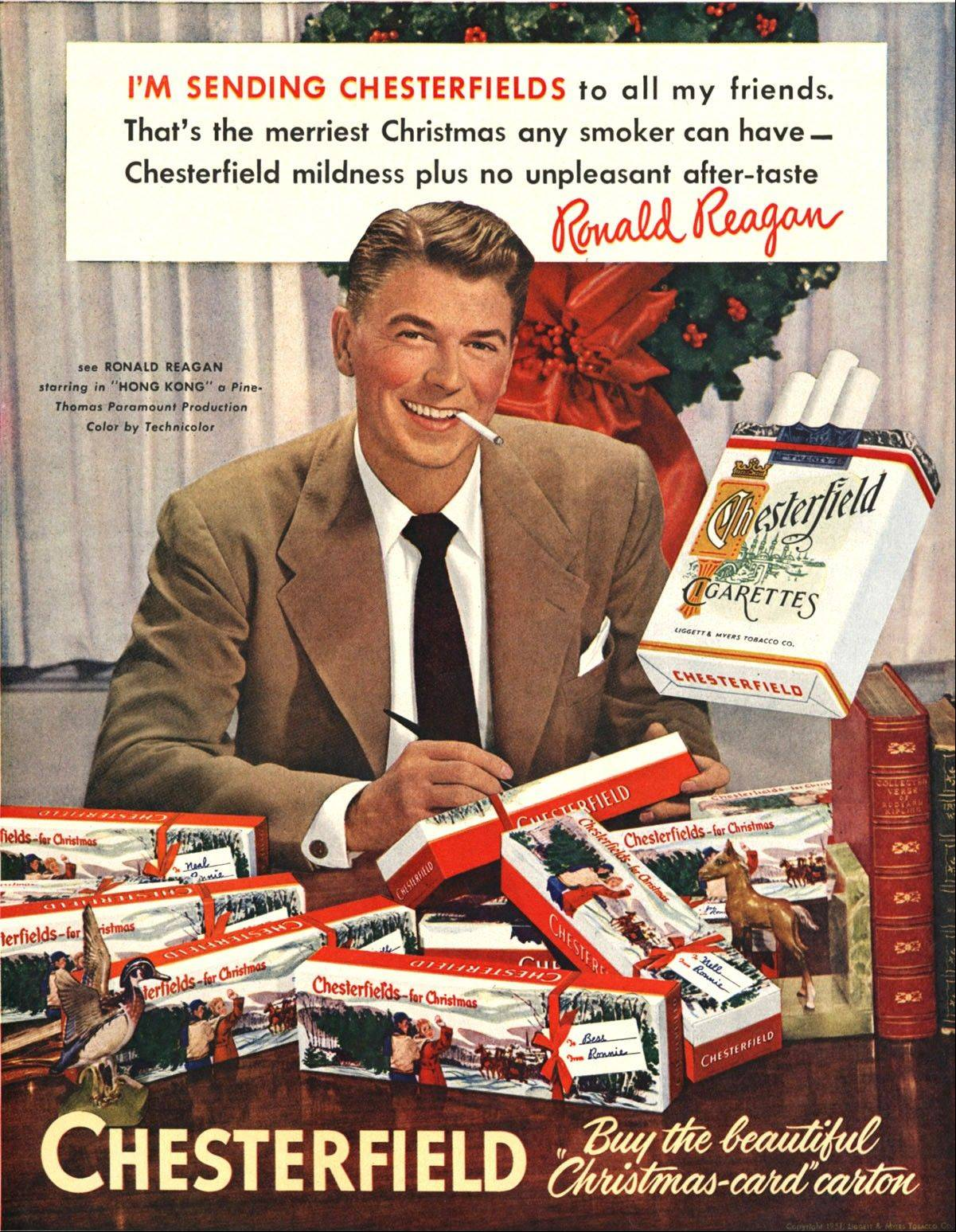 A 1949 Chesterfield cigarette advertisement featuring future President Ronald Reagan.