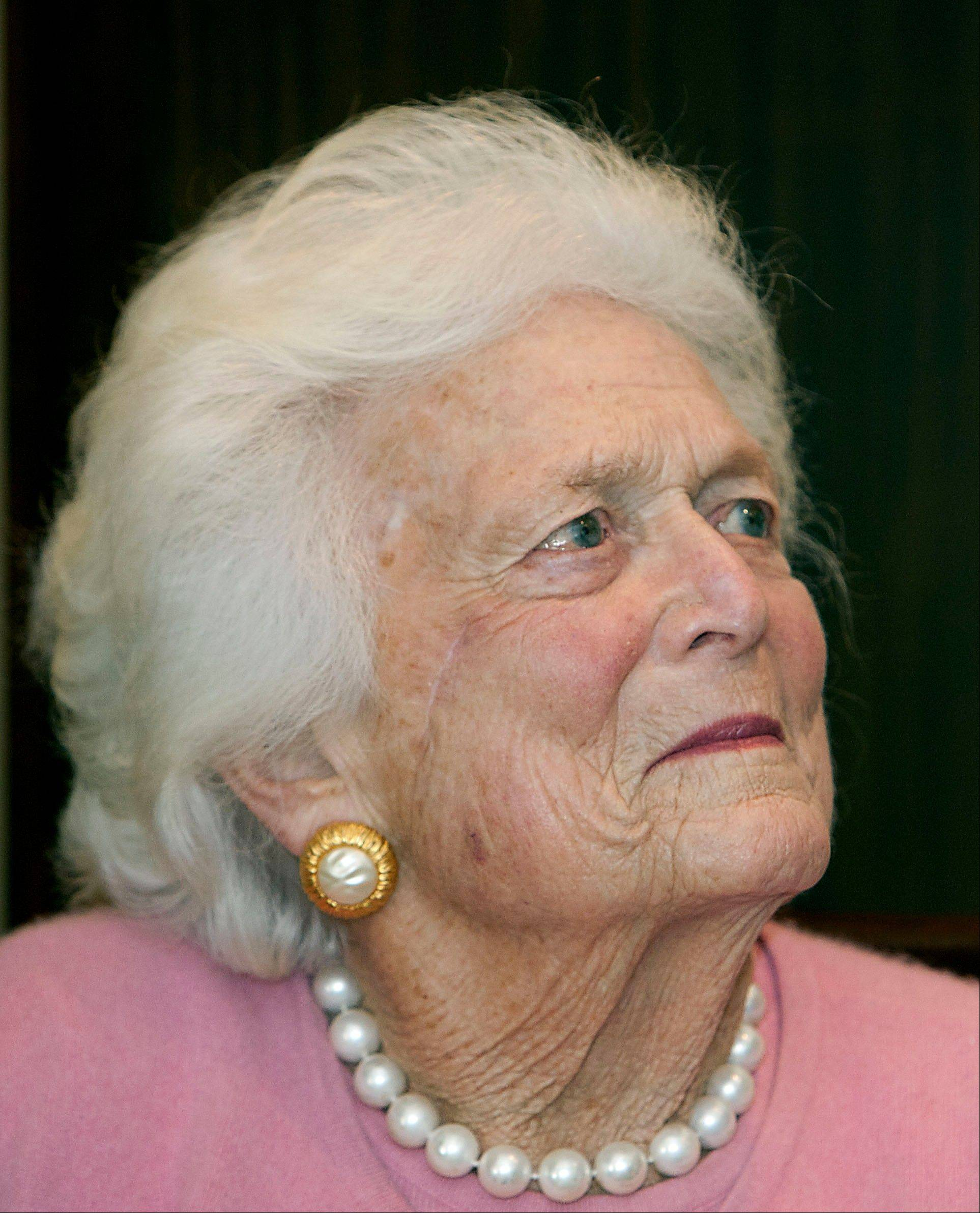 Associated Press/Houston Chronicle, James Nielsen Former first Lady Barbara Bush looks on during a ceremony on Dec. 23 at President Bush�s office in Houston. She has been hospitalized in Houston with a respiratory-related issue. A statement Tuesday night from the office of her husband, former President George H.W. Bush, said she was admitted to Houston Methodist Hospital on Monday.