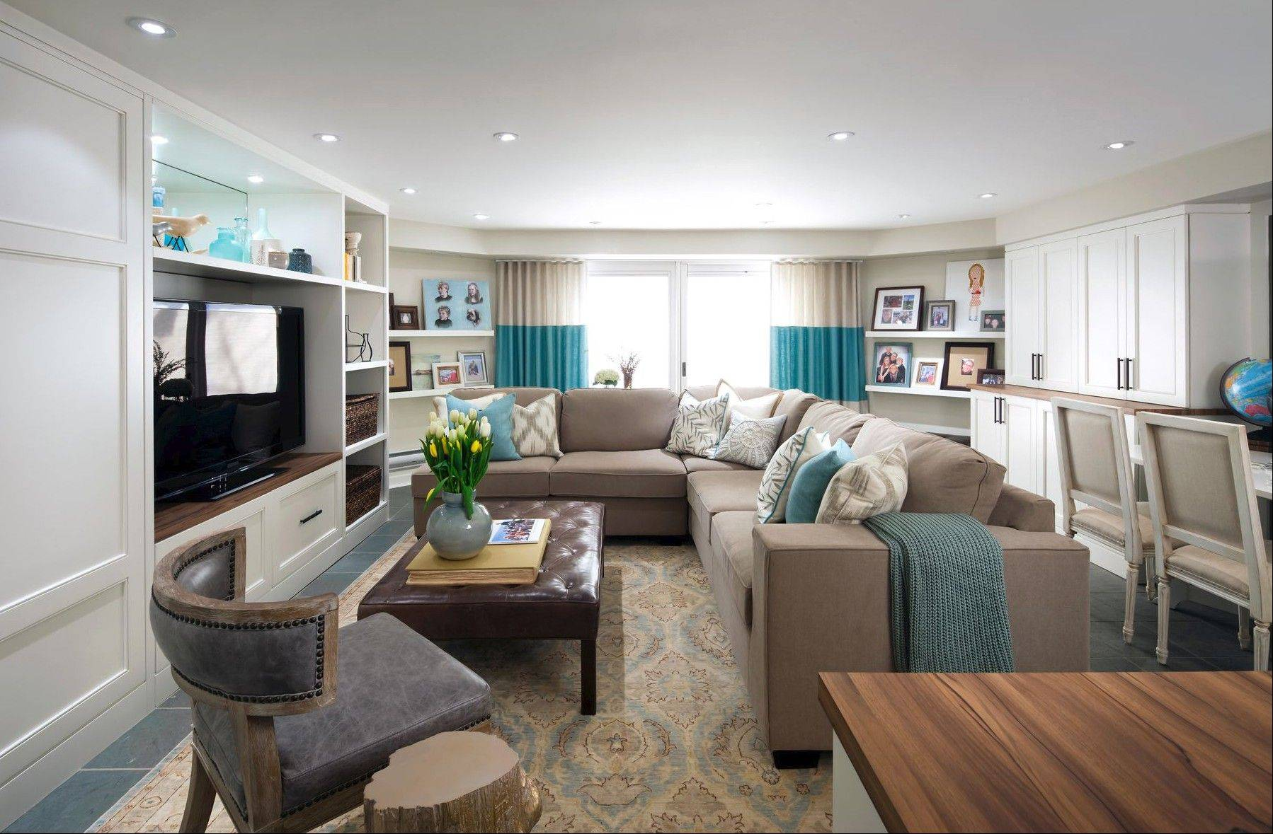New storage and seating areas highlight the bright, remodeled family room.