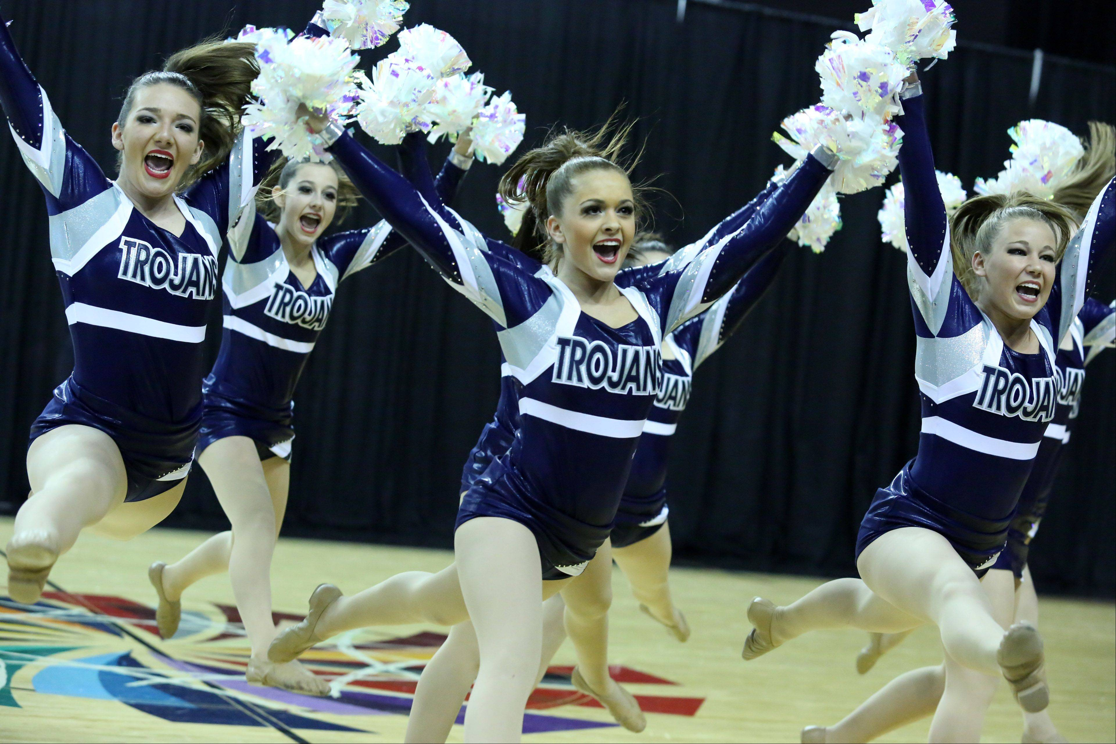Cary-Grove High School cheer team competes in the IHSA Winter Meltdown Cheerleading and Dance Competition at Sears Centre Arena on Saturday in Hoffman Estates.