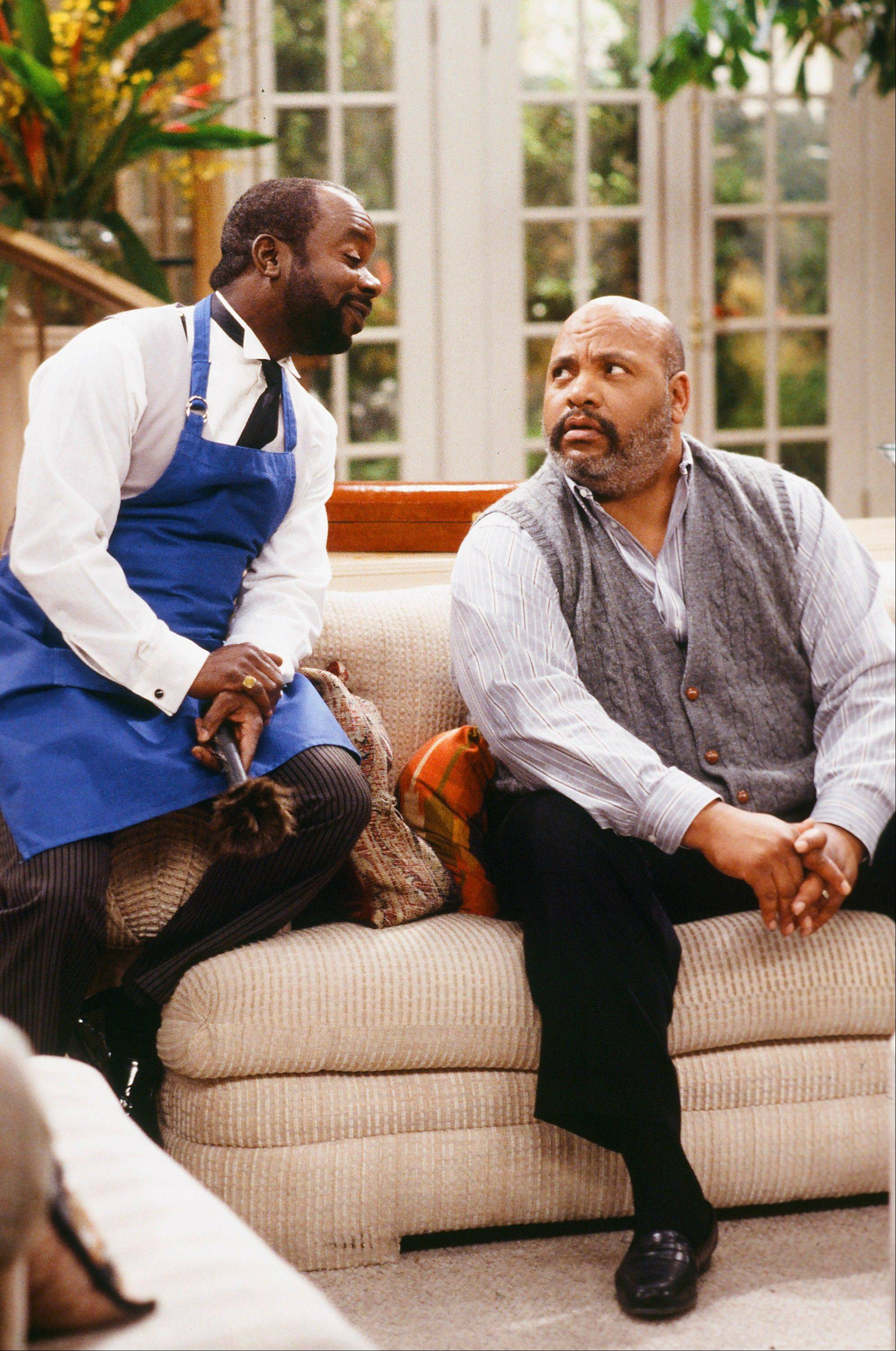 "Joseph Marcell, left, as Geoffrey, and James Avery, as Philip Banks, in the episode ""Papa's Got a Brand New Excuse"" from the TV series, ""The Fresh Prince of Bel-Air."""