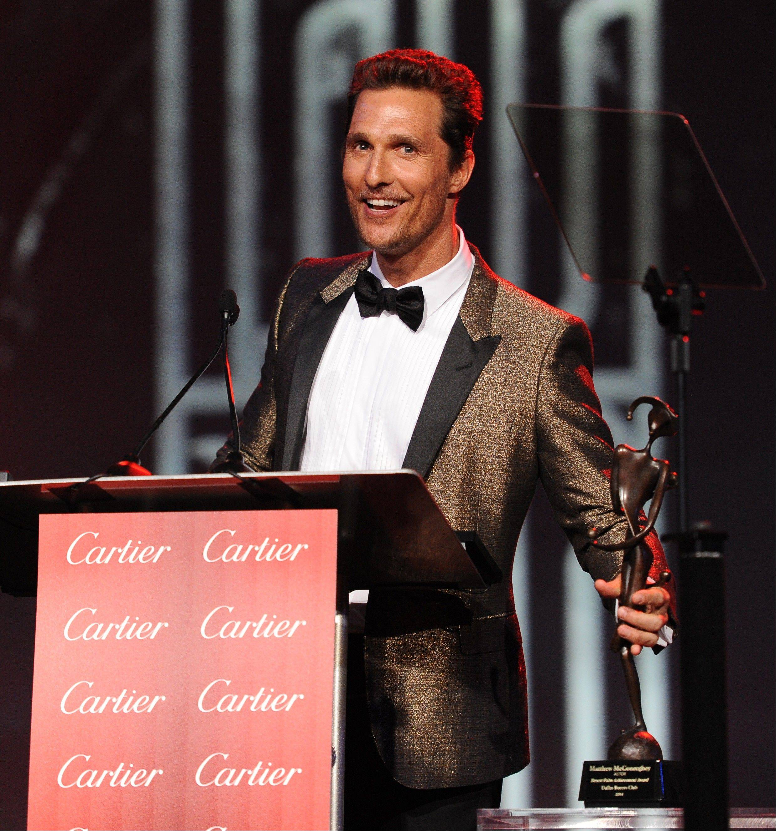 "Matthew McConaughey accepts the Desert Palm achievement award - actor for ""Dallas Buyers Club"" at the Palm Springs International Film Festival Awards Gala at the Palm Springs Convention Center on Saturdayin Palm Springs, Calif."