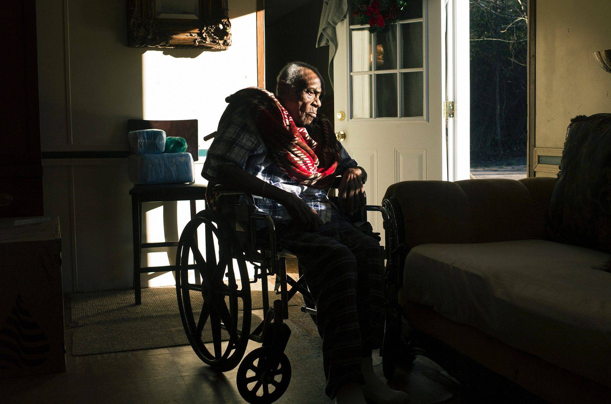 Chocolate Blount, 91, seen Dec. 18 at home in Pine Hill, Ala., was discharged from hospice care about three years ago.