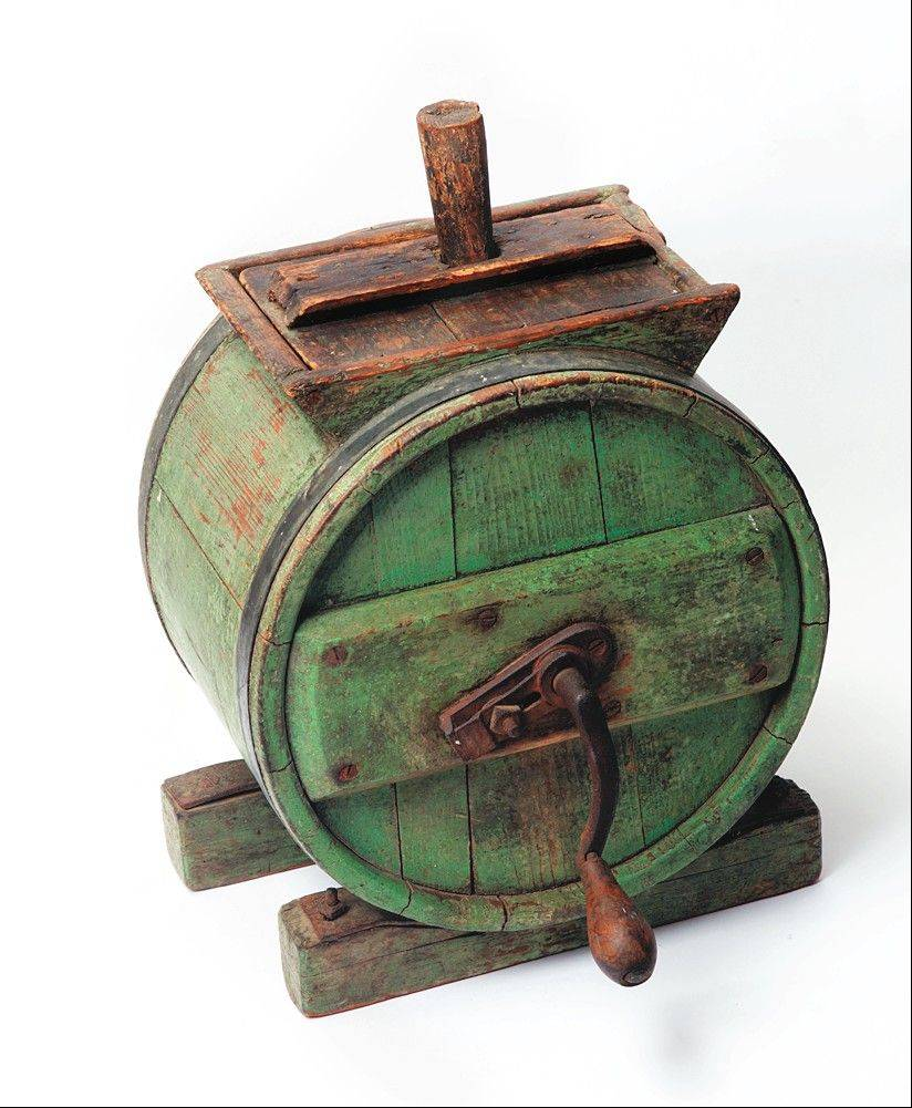 Some butter churns were made with hand cranks.