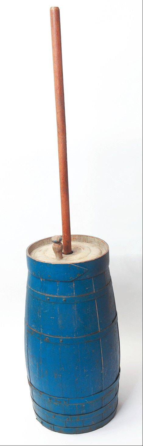 This blue churn dates from the 1840s.