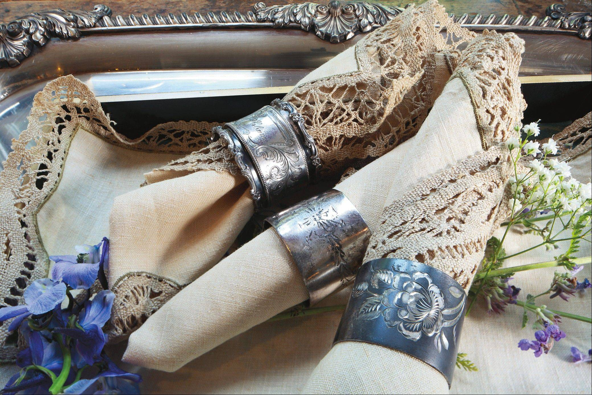 Silver napkin rings, like all silver tableware, are highly collectible.