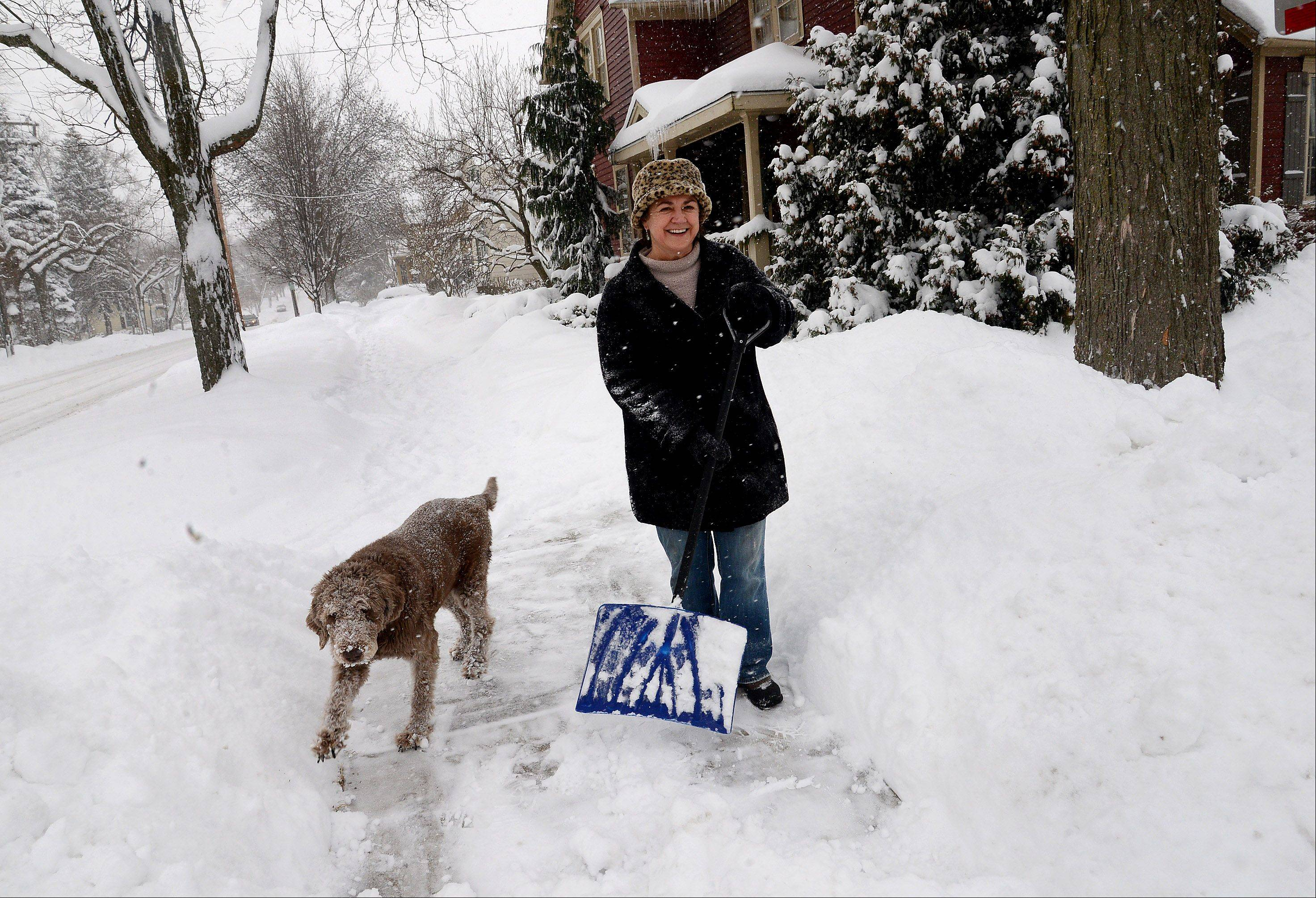"Michelle Kottke, of South Cook Street in downtown Barrington, shovels out with the help of her dog Harlee. ""I'm shoveling by hand, the old fashioned way,"" Kottke says, ""This is the sixth time I've shoveled in the last 24 hours."""