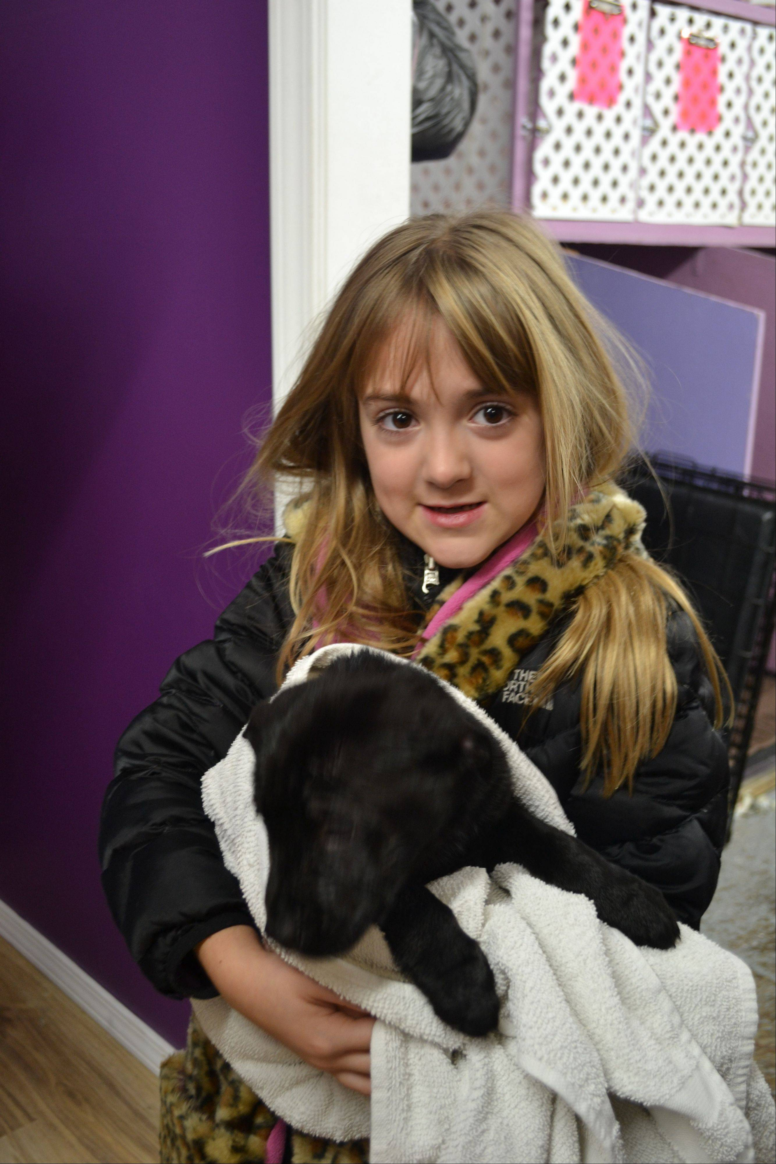 One of the young volunteers, Ava Pietanza, helps keep the pups warm.