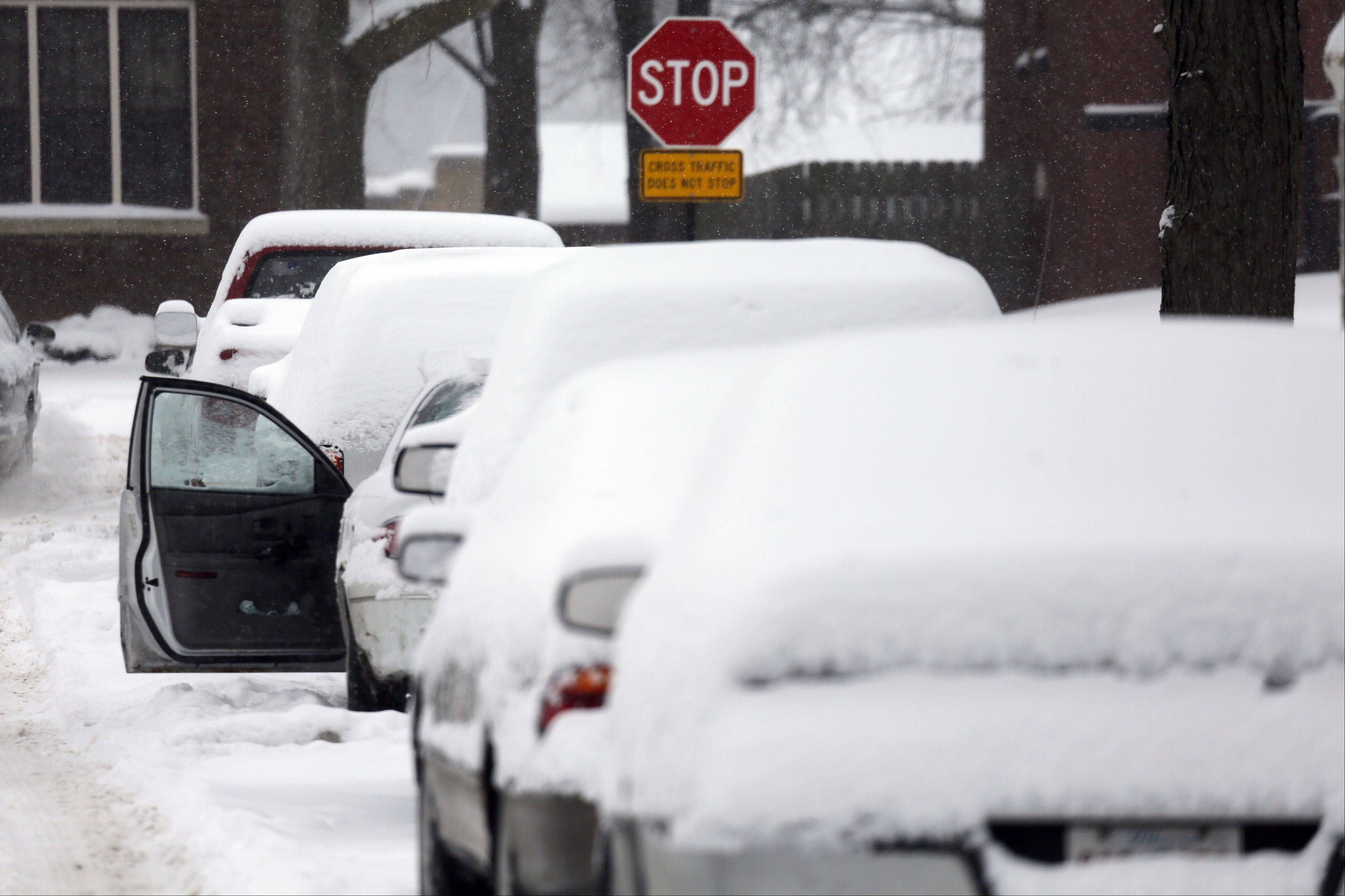 Snow Sunday left many in Elgin digging out their cars. Forecasters predicted the snowfall would stop by the end of the day, but dangerously cold temperatures would soon follow. Several suburban school districts were calling off Monday's classes by midday Sunday.