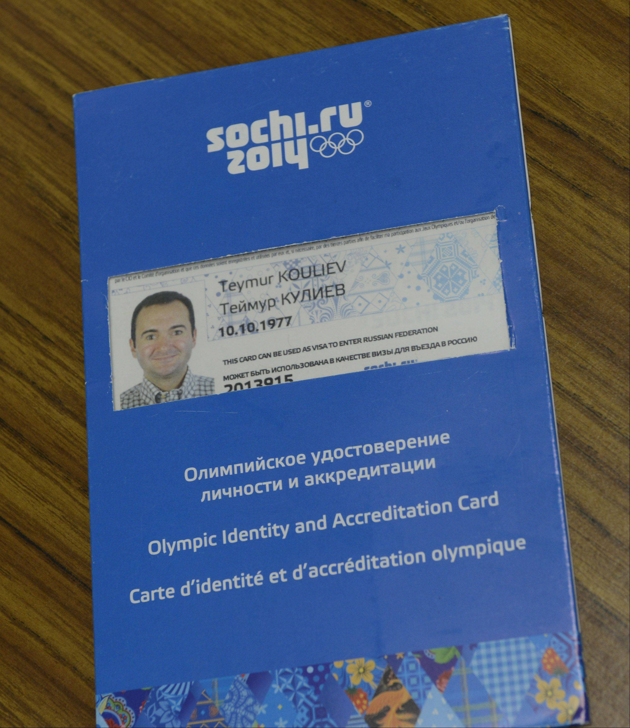 This credential gives Lake County Dr. Timur Kouliev access to the 2014 Olympics in Sochi, Russia, where he serves as a medical coordinator. As a boy growing up in Moscow, Kouliev used to vacation with his family in Sochi.