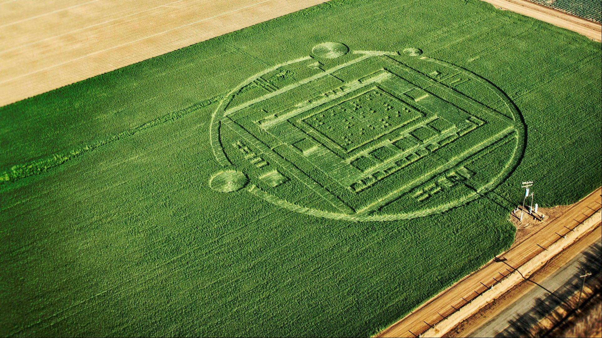 This photo provided by NVIDIA shows a 310-foot ìcrop circleî in a California barley field that mystified locals this week was explained Sunday Jan. 6, 2014: it was a publicity stunt by Nvidia Corp., a maker of chips for PCs and smartphones. T