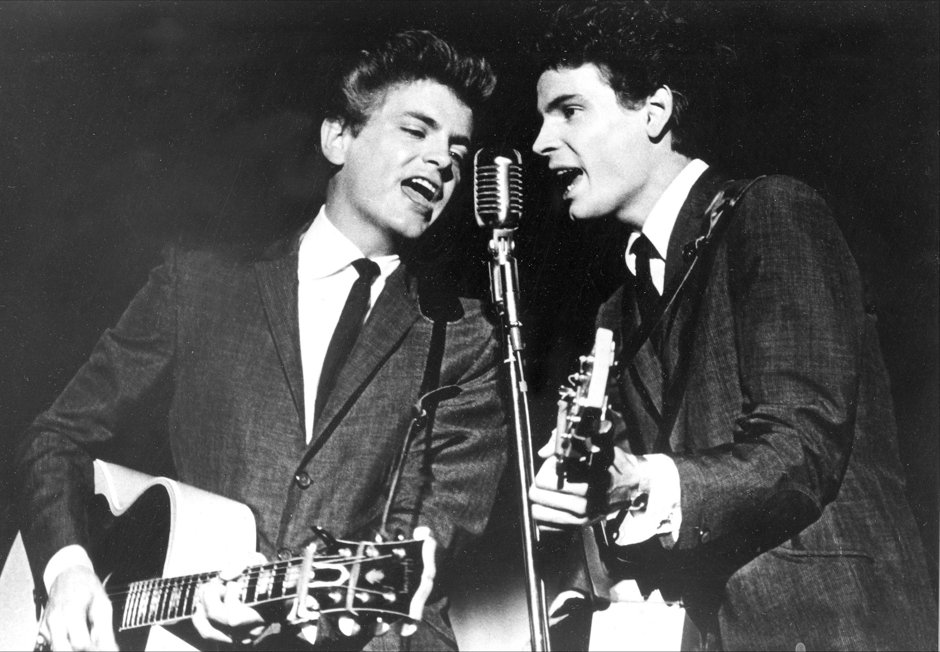 The Everly Brothers, Don and Phil, performing on stage in 1964. Phil Everly, who with his brother Don formed an influential harmony duo that touched the hearts and sparked the imaginations of rock 'n' roll singers for decades, died Friday.