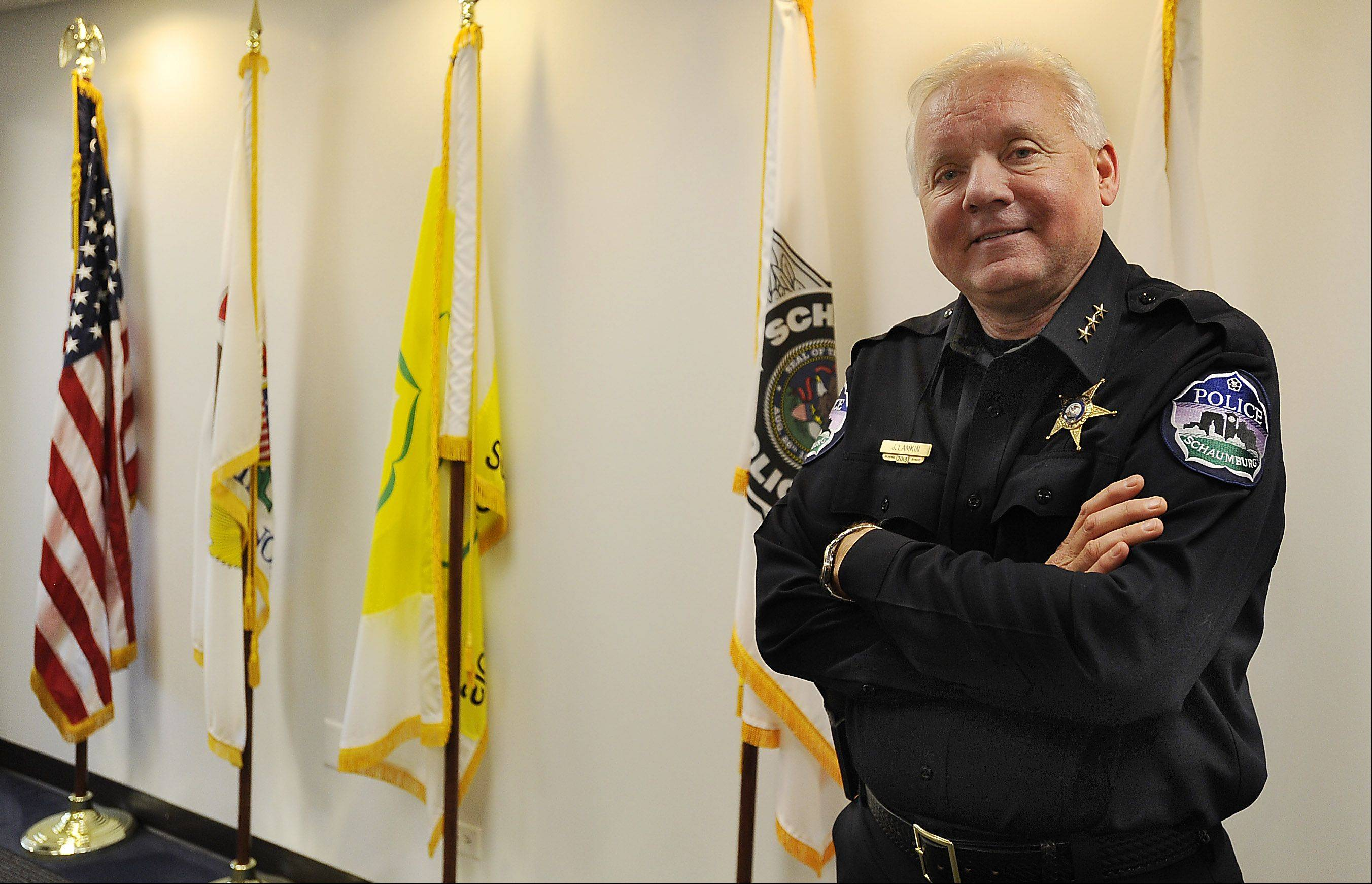 New Schaumburg Police Chief James Lamkin, who came to the village after 10 years as the head of St. Charles' police force, talks about his role and his plans for the department.