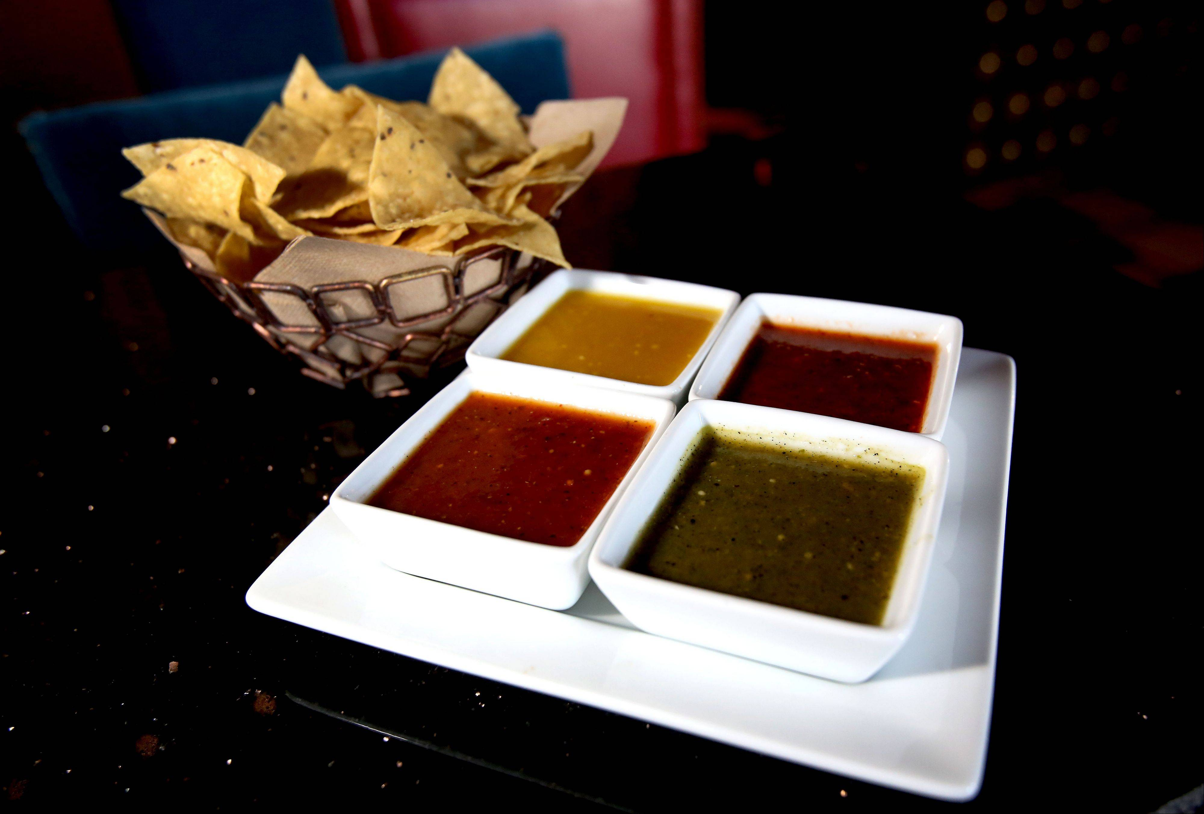 The salsa combo platter has something for everyone at Barbakoa restaurant in Downers Grove.