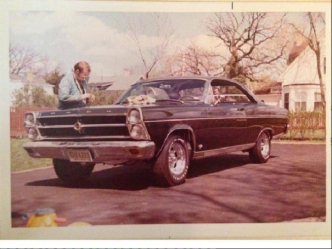 Roxworthy, here waxing his Ford Fairlane 500 in 1972, has lovingly cared for the vehicle for more than 45 years.