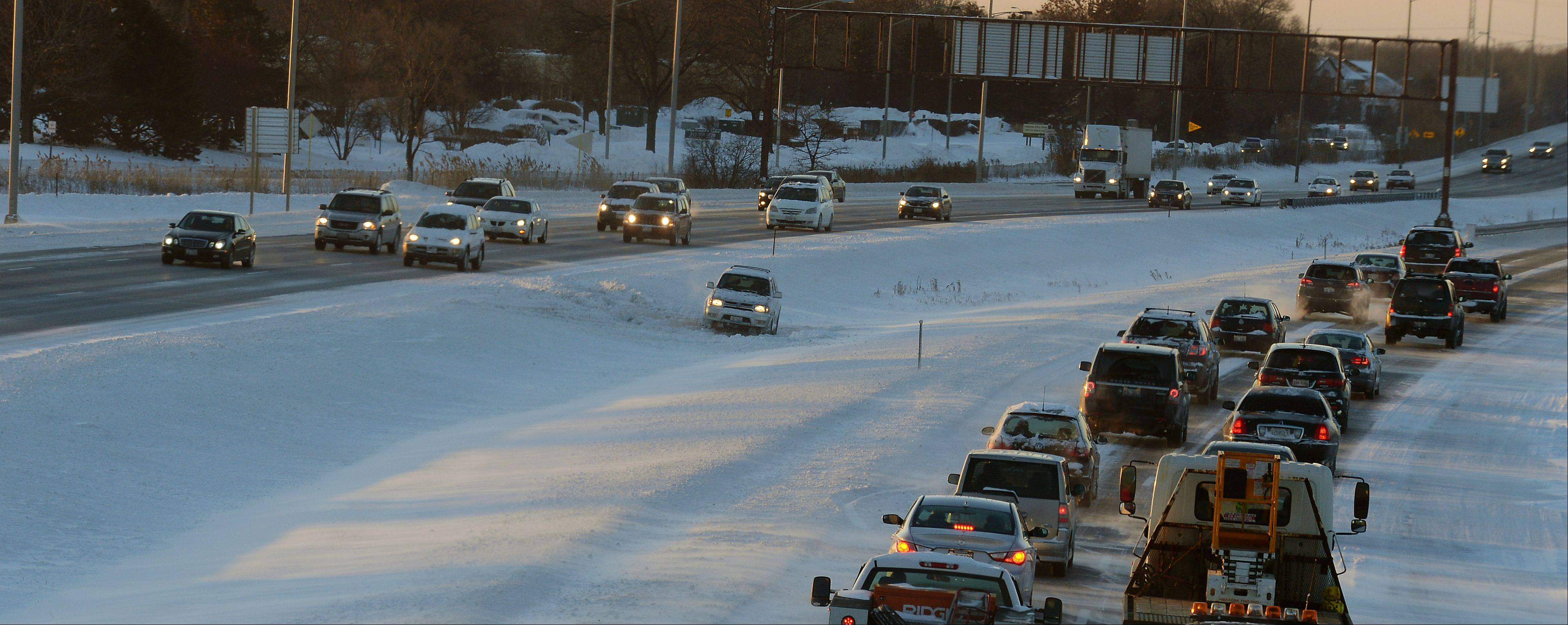 Traffic on Route 53 was slow going with the cold temperatures keeping most people home.