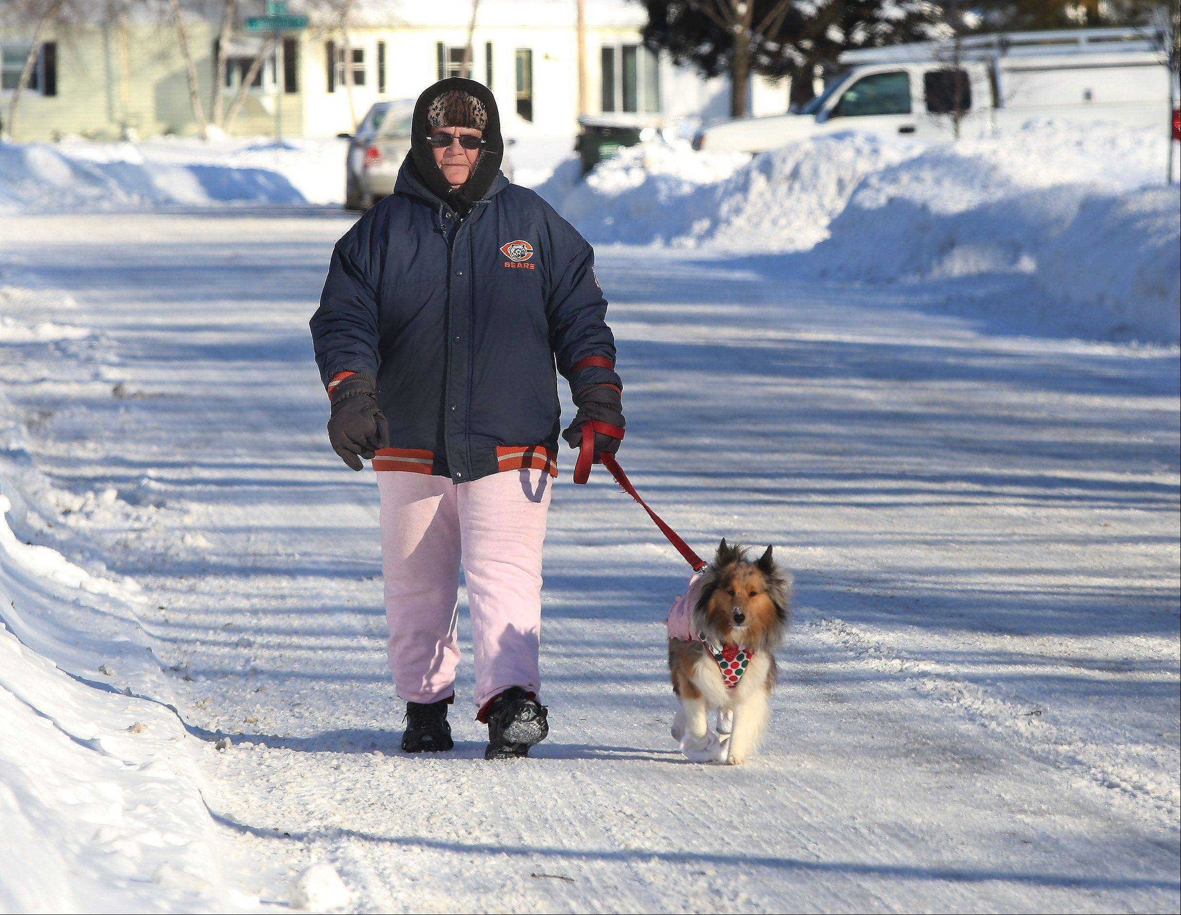 Mundelein resident Sandy Groves bundles up as she walks her Sheltie, Mandy, during the brutal cold on Monday that blew in overnight. Temperatures stayed below zero throughout the day making it the coldest day in nearly twenty years.