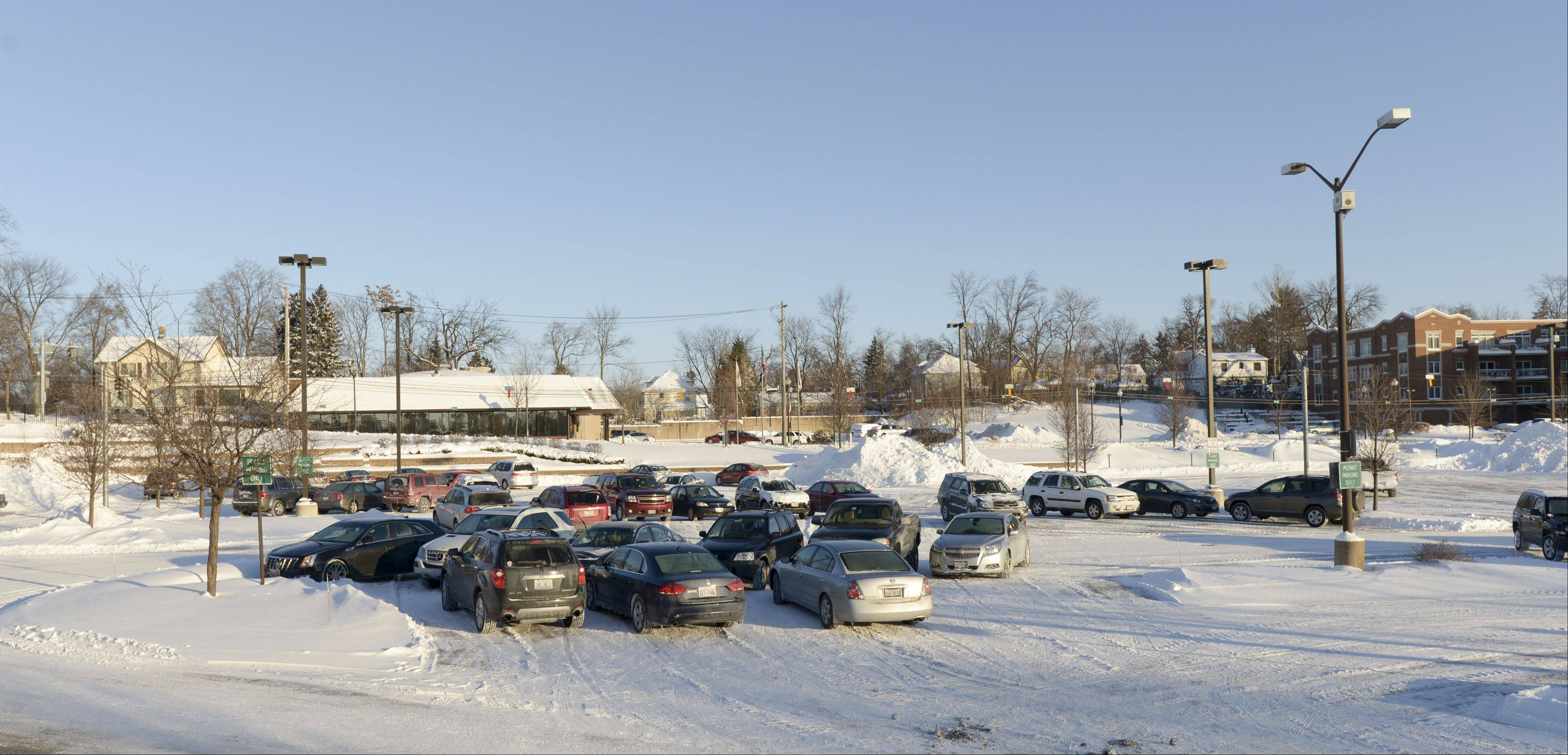 West Chicago train station parking lot is not even close to being full as normal as many commuters stay home from work due to the record breaking extreme cold weather that has hit Chicago suburbs.