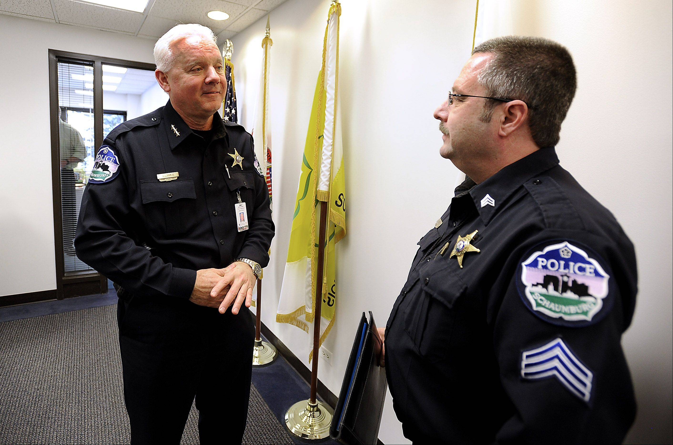 New Schaumburg Police Chief James Lamkin, speaking with Sgt. John Nebl after a meeting, said one of his first goals is to create an atmosphere within the department that encourages his staff to make suggestions about how to better perform their duties.