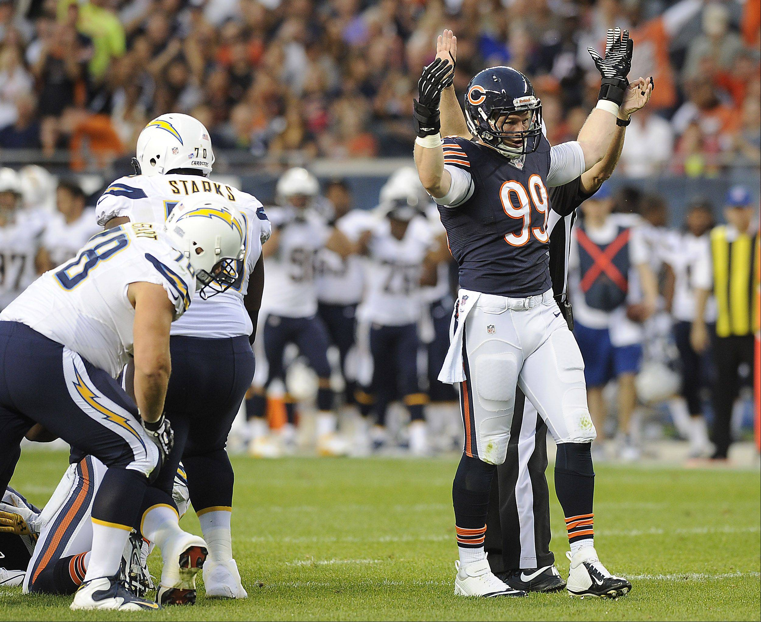 The Bears' Shea McClellin shows who the boss after his sack on the Chargers quarterback.