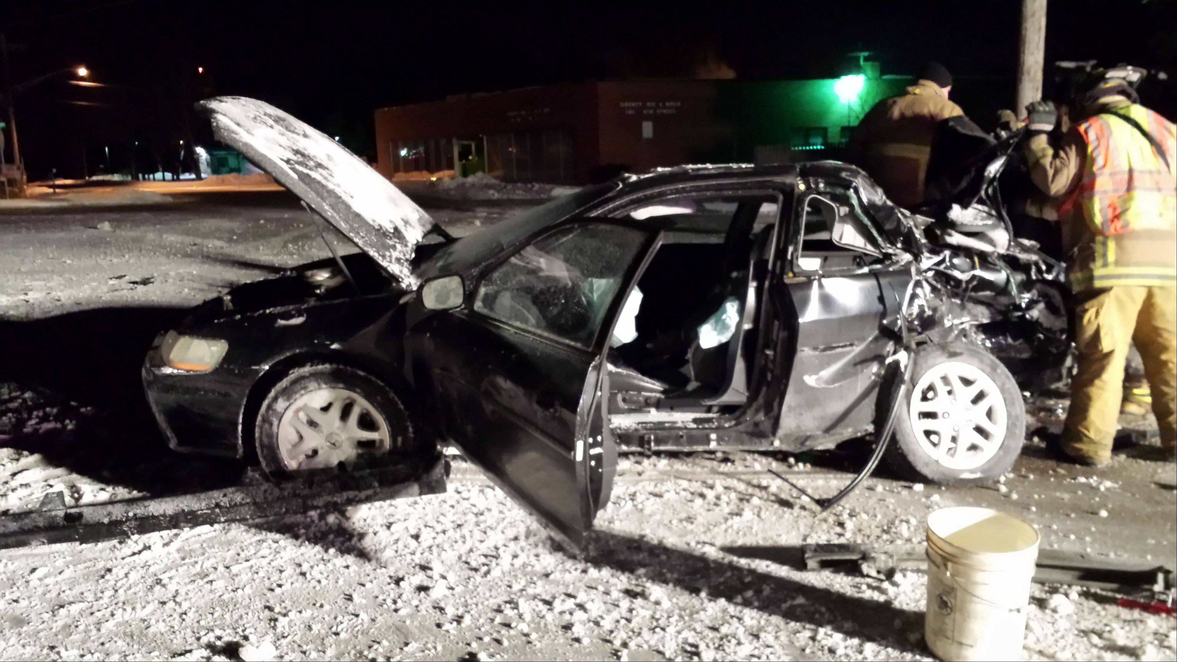 A Lake County Sheriff�s detective escaped injury Monday night when his unmarked car became stuck on snow near railroad tracks in Round Lake Park and was struck by an oncoming Metra train. The car was not so fortunate. No injuries were reported aboard the train.