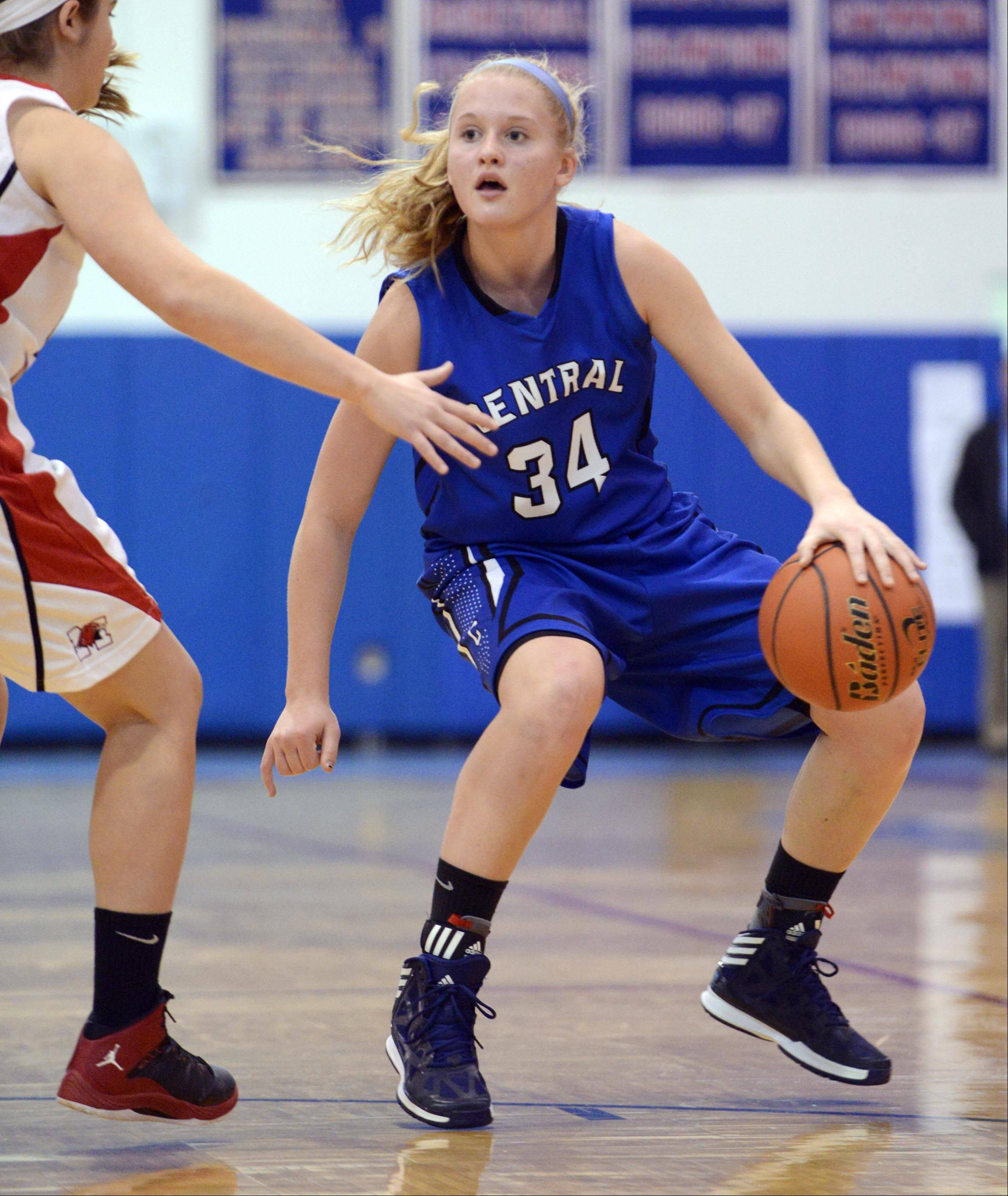 Burlington Central�s Samantha Pryor works against Maine South during the Dundee-Crown Charger Classic.