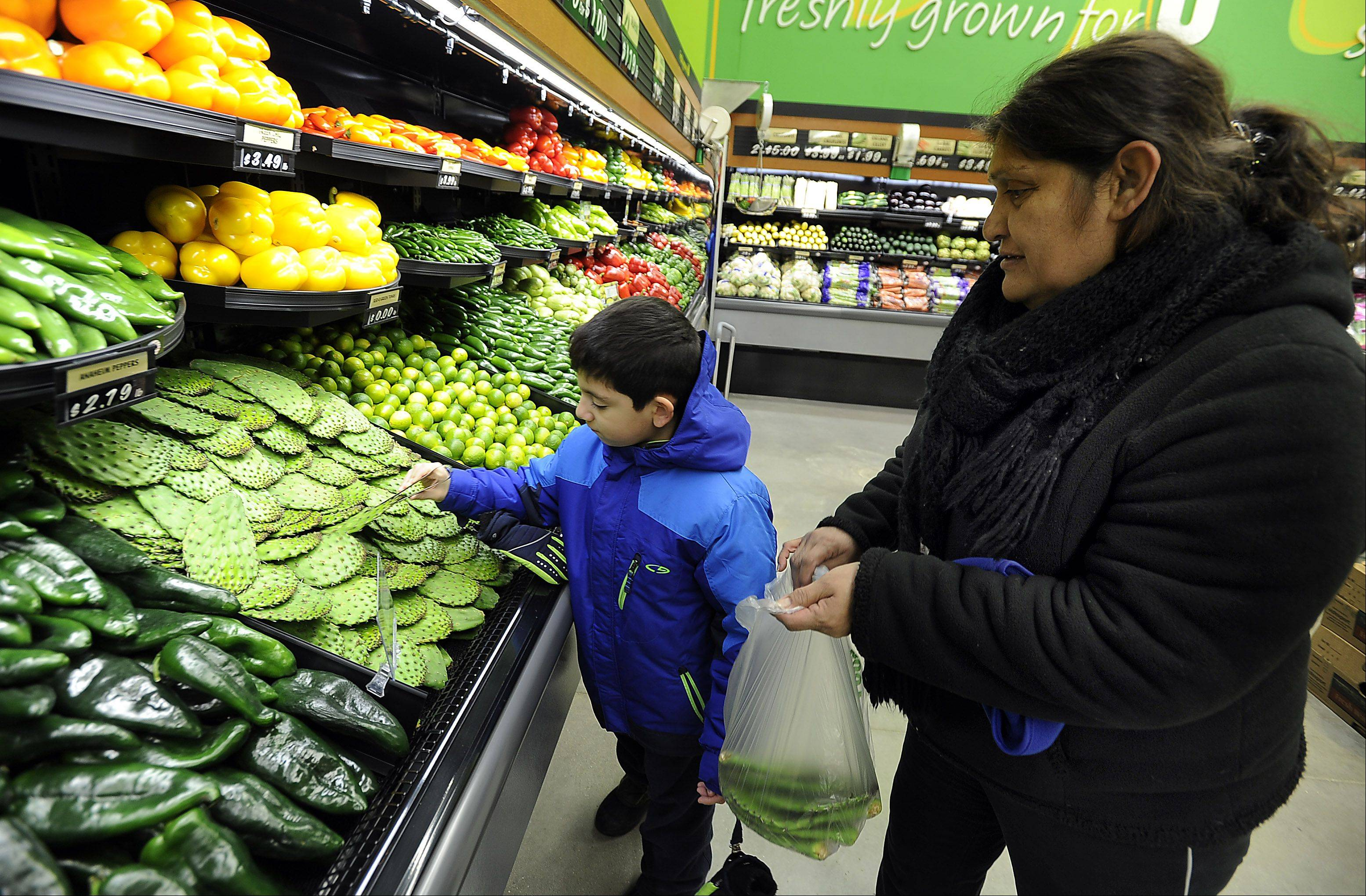 "Vicky Santana of Arlington Heights, and her grandson, Hector Magana, 7, pick out fresh nopales at the new Ultra Foods in Prospect Heights. Vicki said, ""I like the prices."""