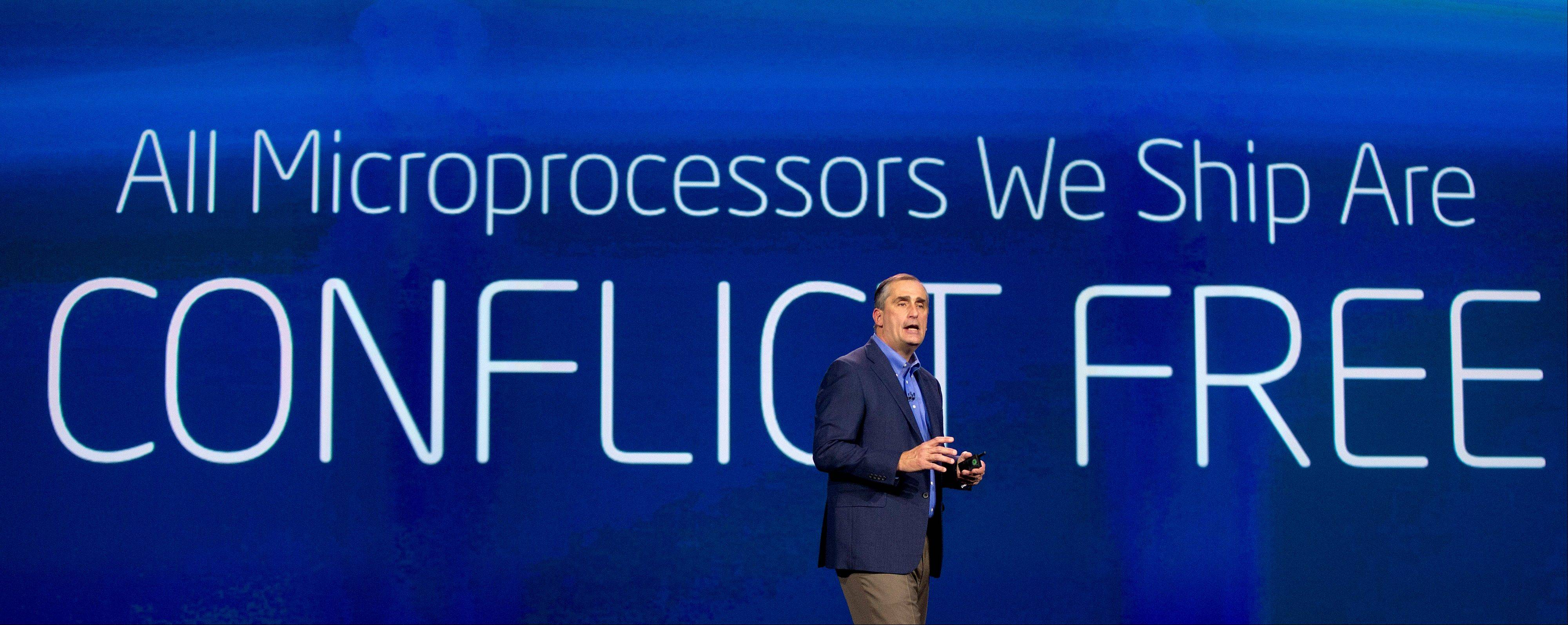 Intel CEO Brian Krzanich talks about materials used to make Intel microprocessors during a keynote address at the International Consumer Electronics Show, Monday.