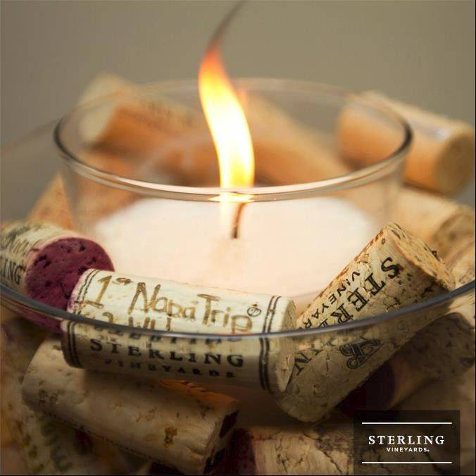 Use wine corks to create a candleholder that also holds memories.