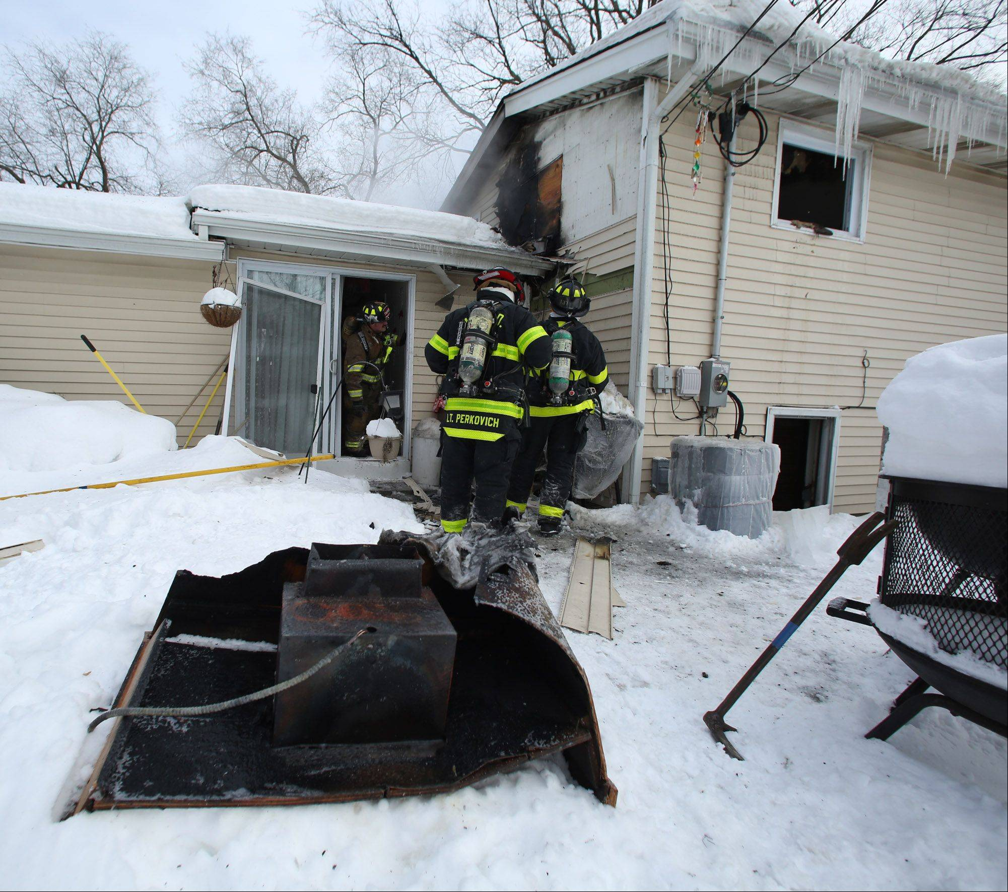 A charred metal object was among the items damaged Tuesday afternoon in a house fire on the 1600 block of Yale Avenue in Arlington Heights.