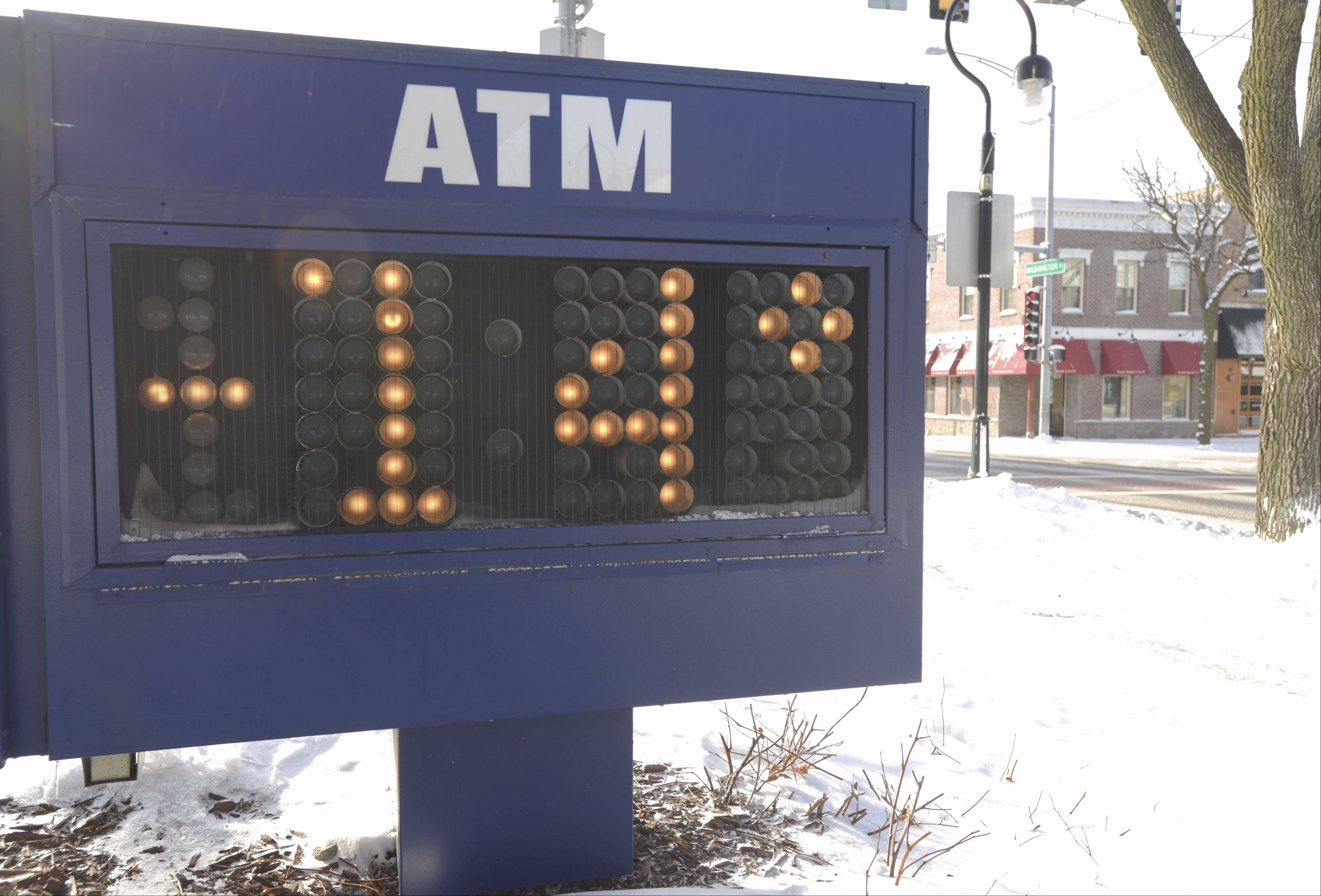 The US Bank sign in downtown Naperville along Washington Street gave a temperature reading of -14 degrees just before 10 a.m.