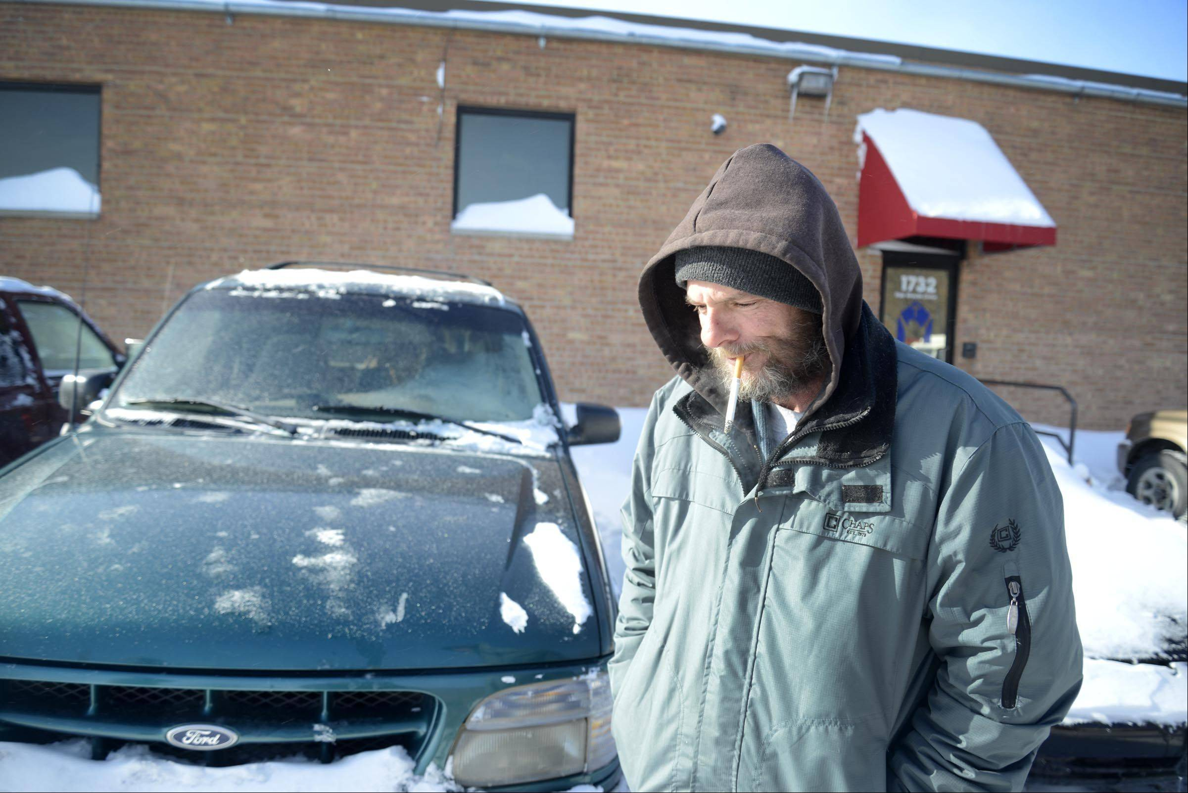 Tom, 53, spent Monday at The Wayside Center in Elgin. The center serves meals for the homeless, and they can sleep in the adjoining PADS shelter. On warmer days he sleeps in his 1998 SUV with his dog.