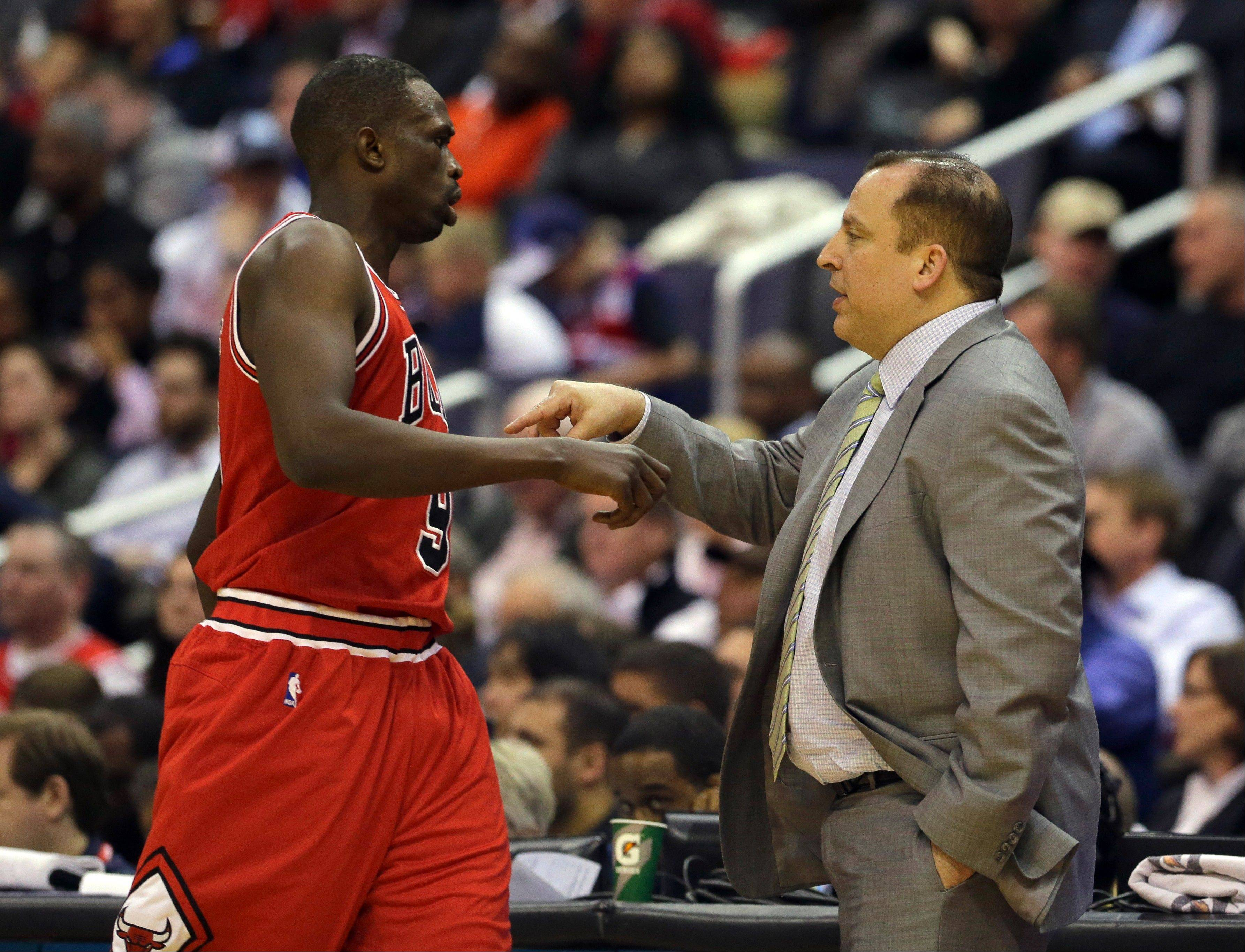 Chicago Bulls head coach Tom Thibodeau will have to find a way to replace Luol Deng after the Bulls traded him to Cleveland in a salary dump move in exchange for the injured Andrew Bynum and conditional draft picks.