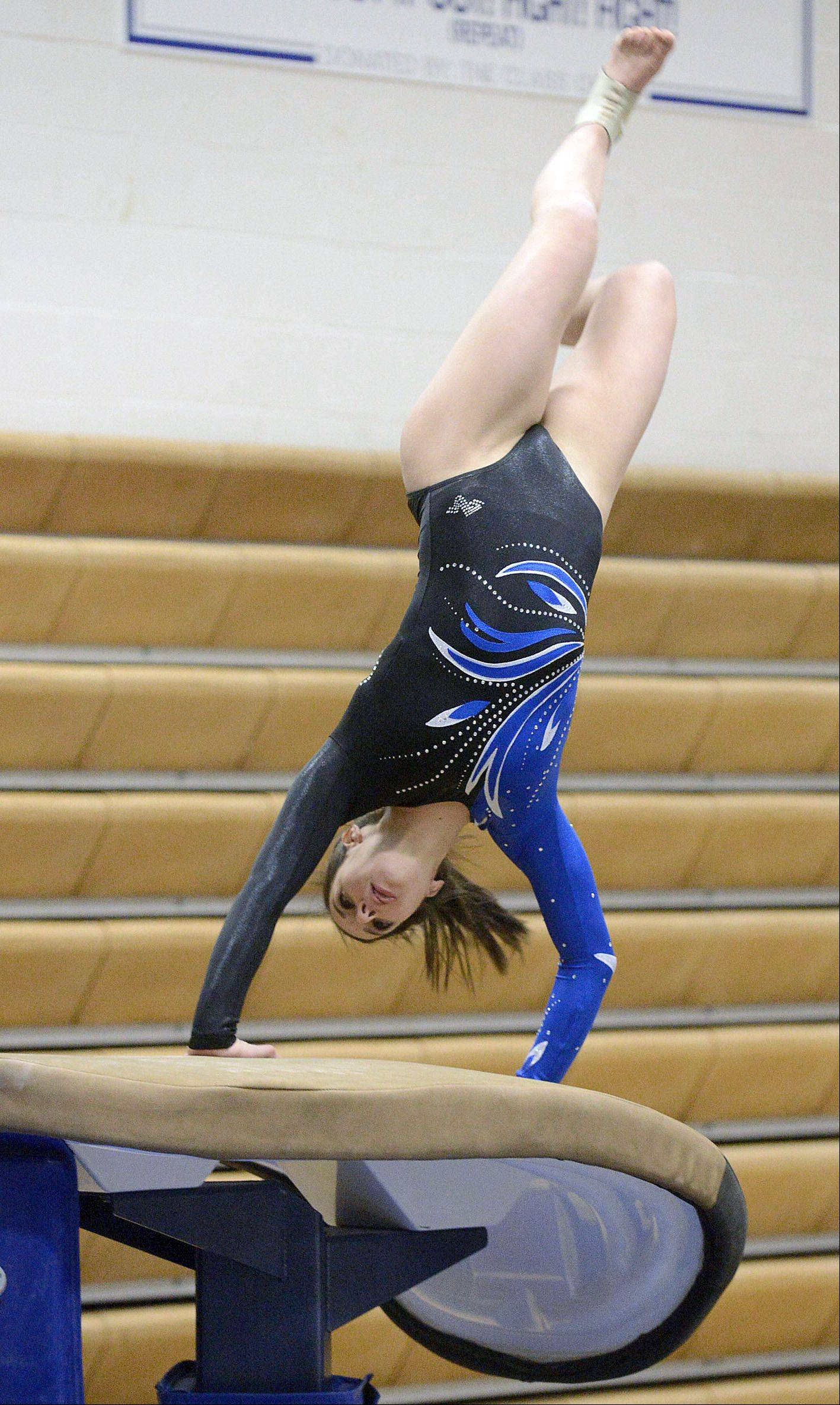 Geneva�s Grace Ginsberg competes on the vault during the gymnastics meet vs. Batavia on Wednesday, January 8.