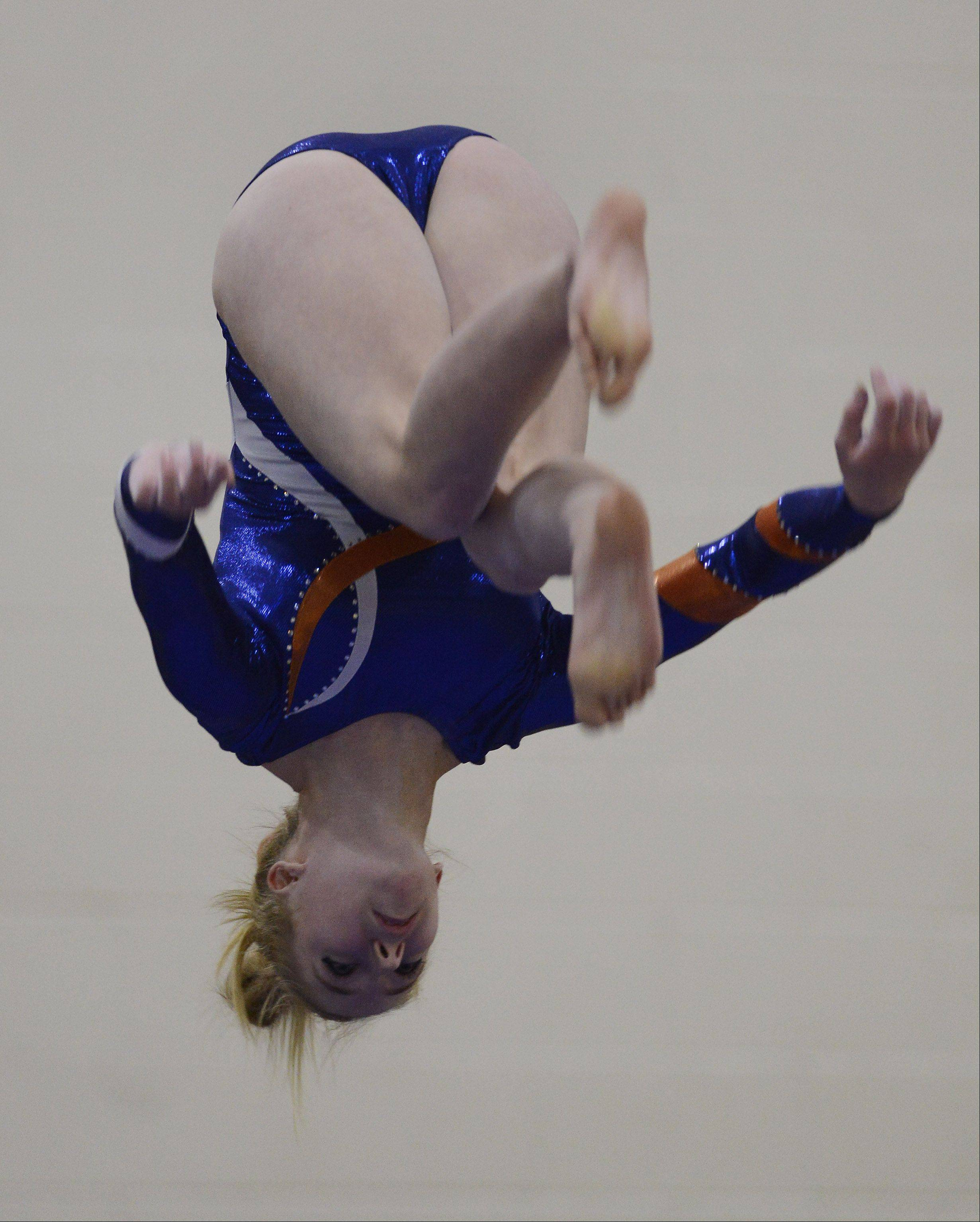 Buffalo Grove�s Diandra Duenser competes on the balance beam during Wednesday�s meet with Hersey and Fremd.