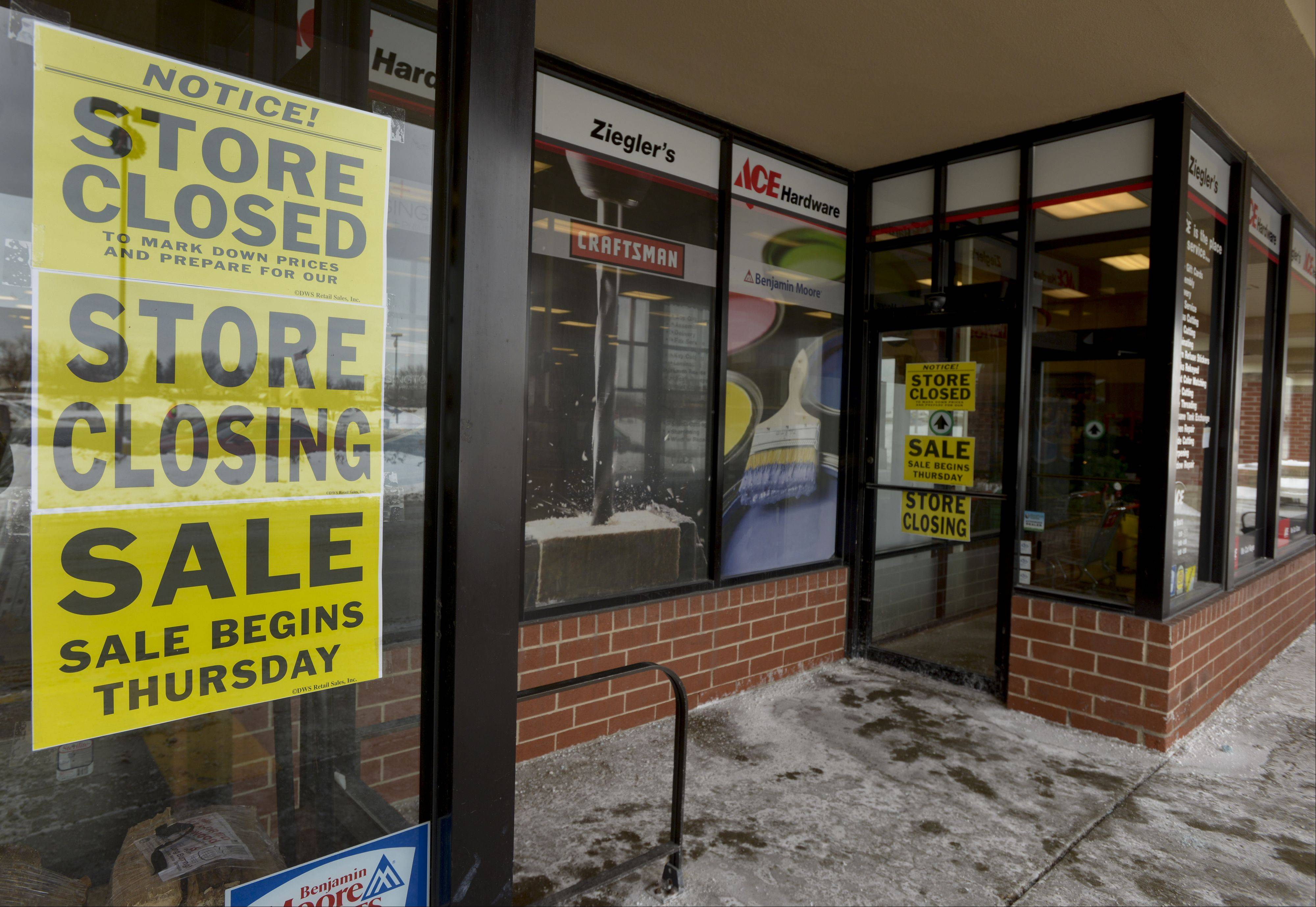 Ziegler's Ace Hardware in Carol Stream will conduct a liquidation sale for the next six to eight weeks and close for good in mid-March.