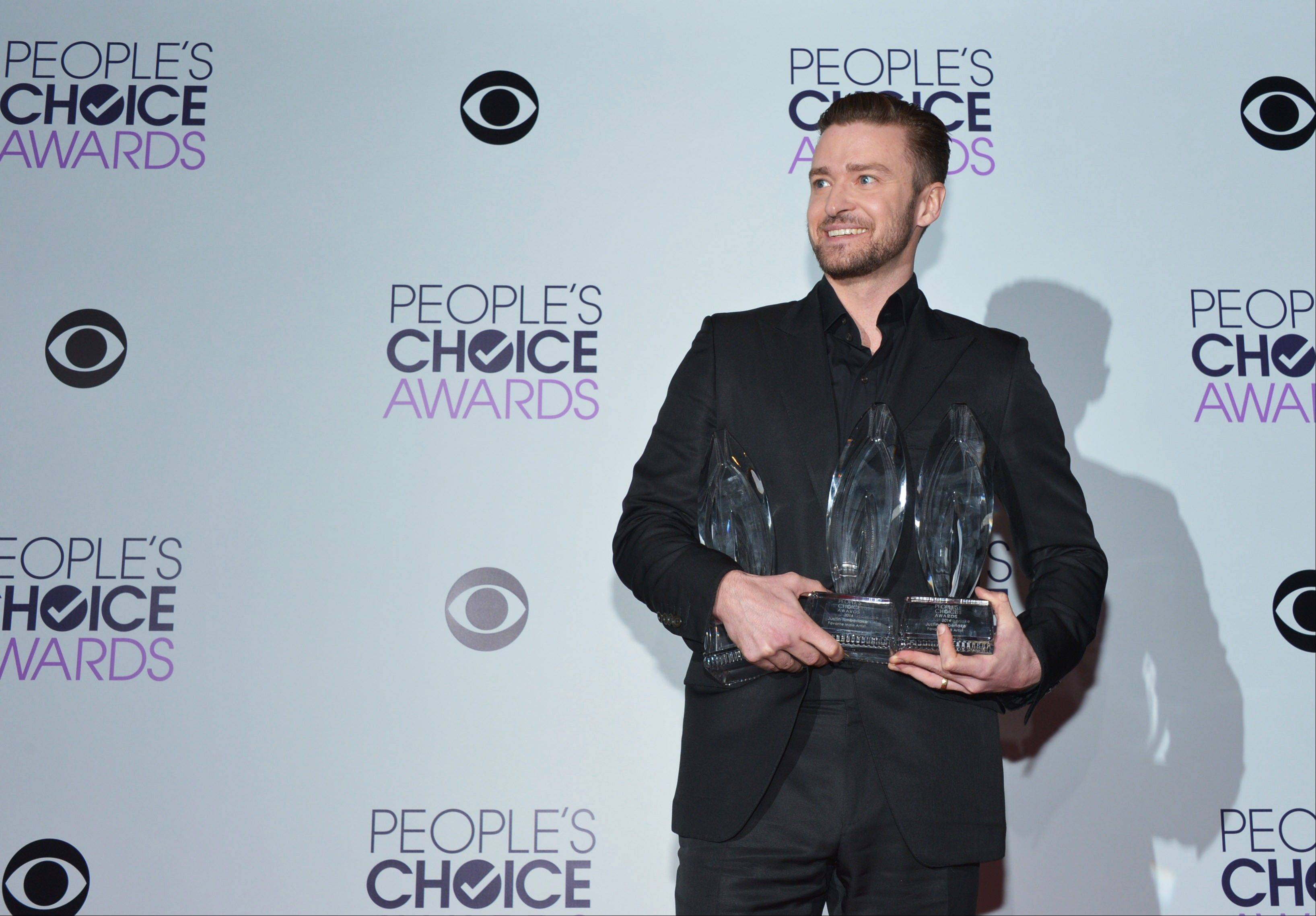 Associated PressJustin Timberlake won Favorite Album, Favorite Male Artist and Favorite R&B Artist awards at the 40th annual People's Choice Awards at Nokia Theatre L.A. Live on Wednesday, Jan. 8, 2014, in Los Angeles.