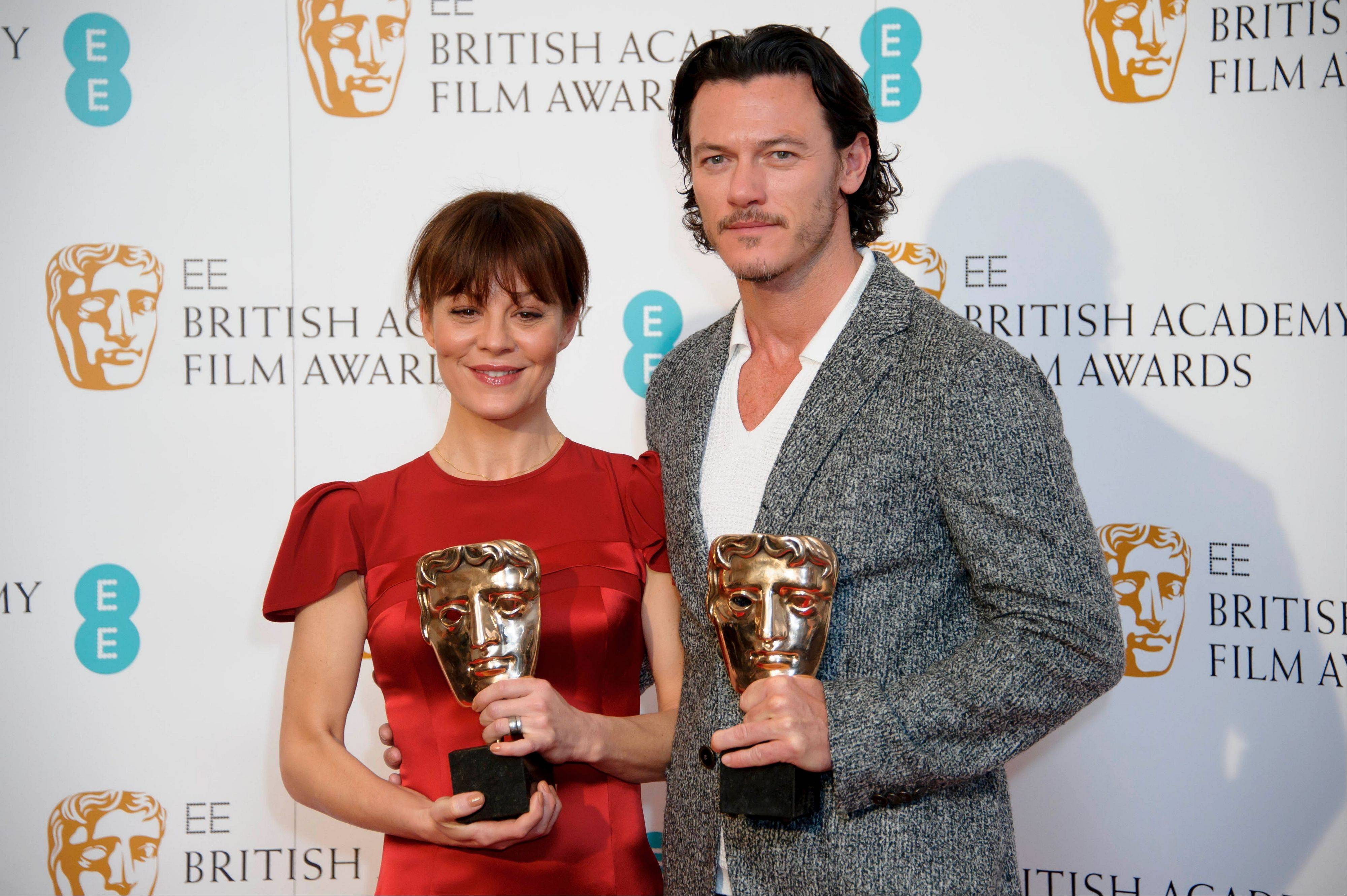 "British actors Helen McCrory and Luke Evans announced Wednesday that ""Gravity,"" ""12 Years a Slave,"" ""American Hustle,"" ""Captain Phillips"" and ""Philomena"" are best picture nominees for the British Academy Film Awards, Britain's equivalent of the Oscars."