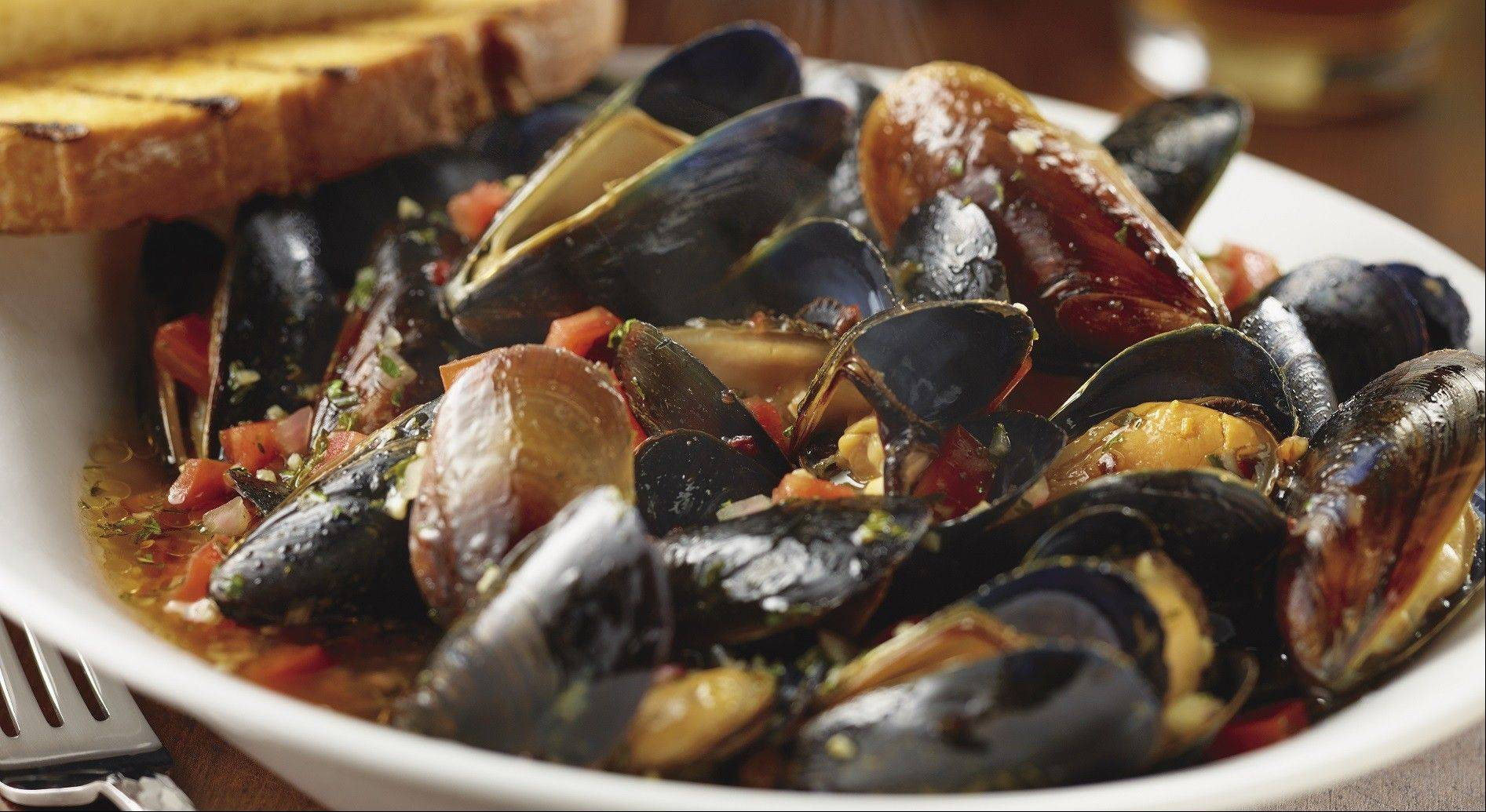 Start with the garlic mussels.