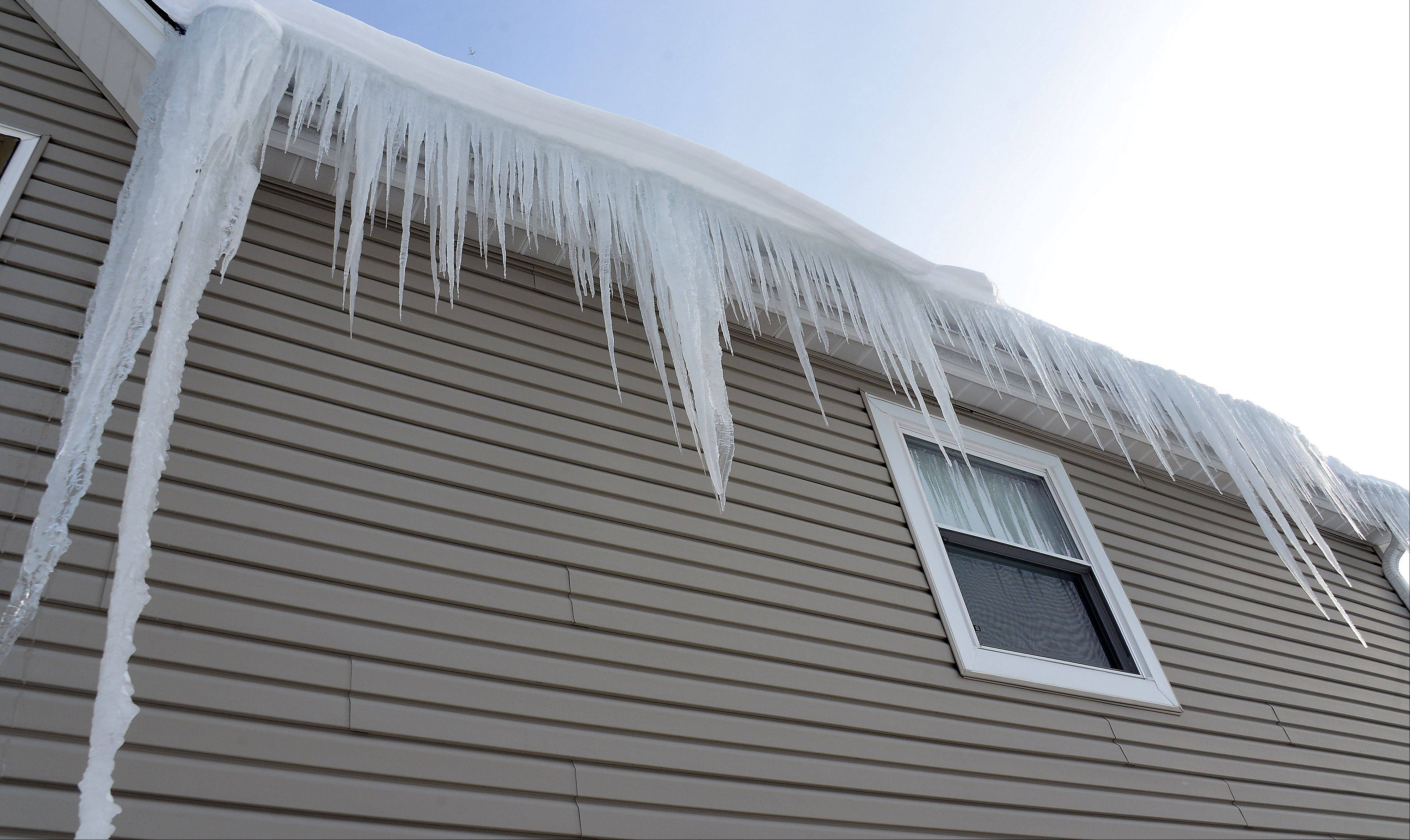These icicles hang from a building in Palatine.