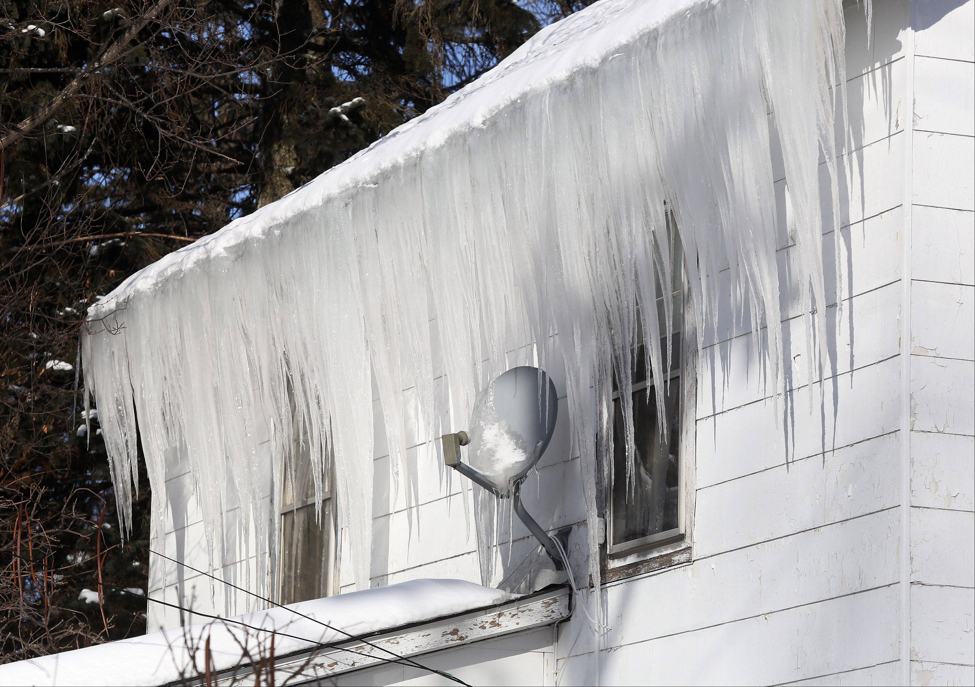 Massive icicles have formed on homes in Wauconda.