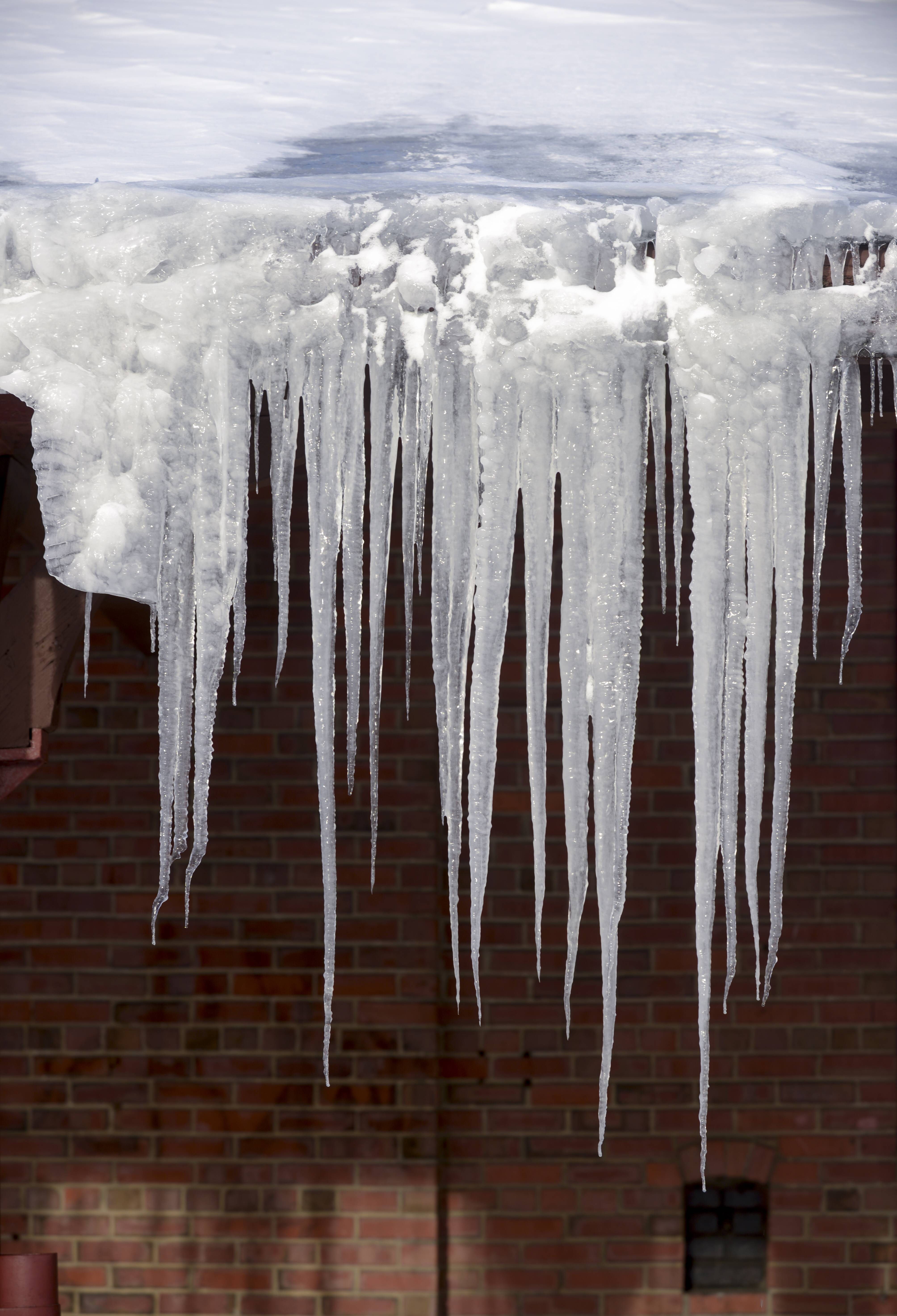 Icicles hang from the roof of the Wayne and Helen Fox Community Center in West Chicago.