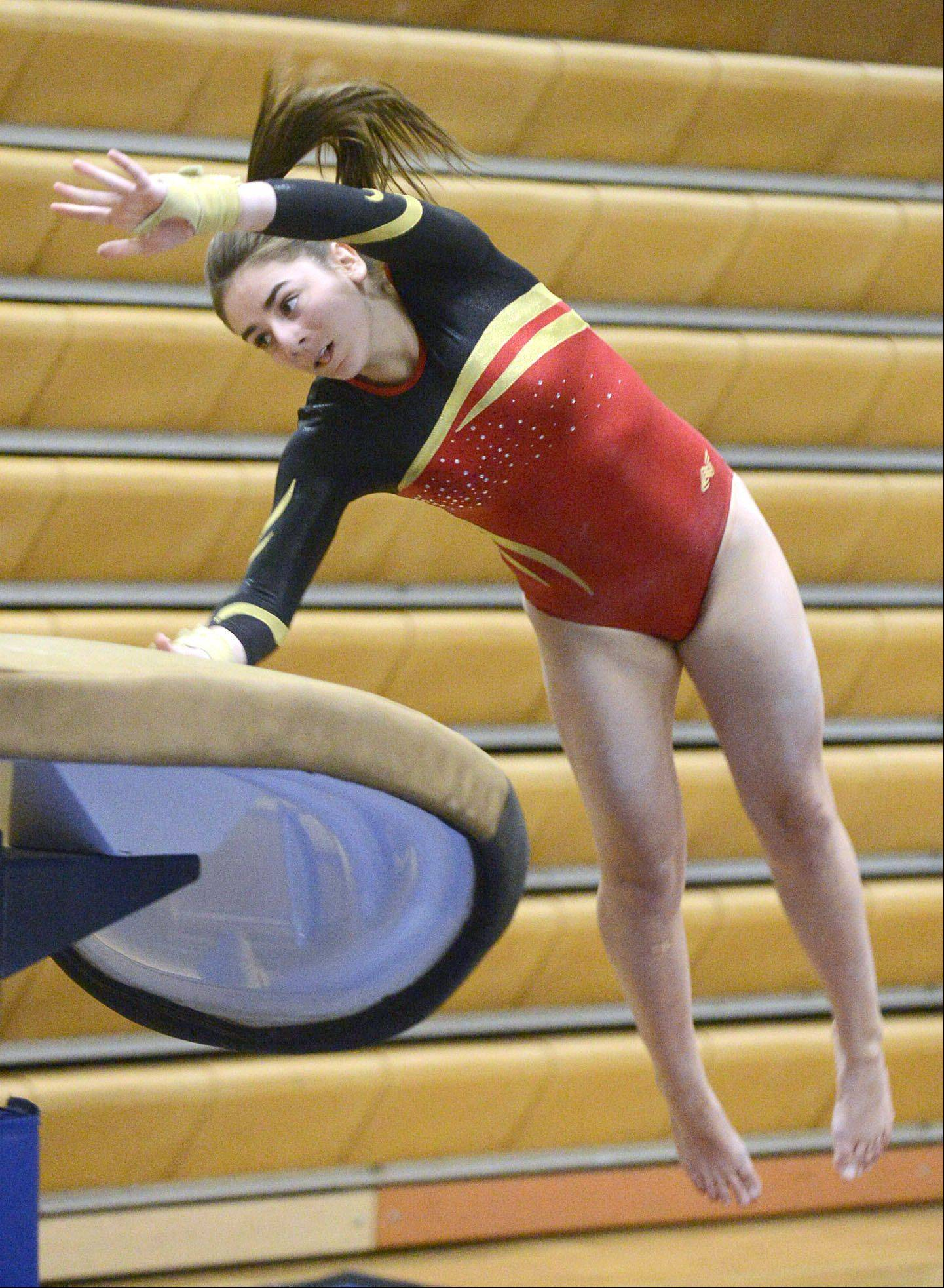 Batavia's Megan McGee competes on the vault during the gymnastics meet vs. Geneva on Wednesday, January 8.