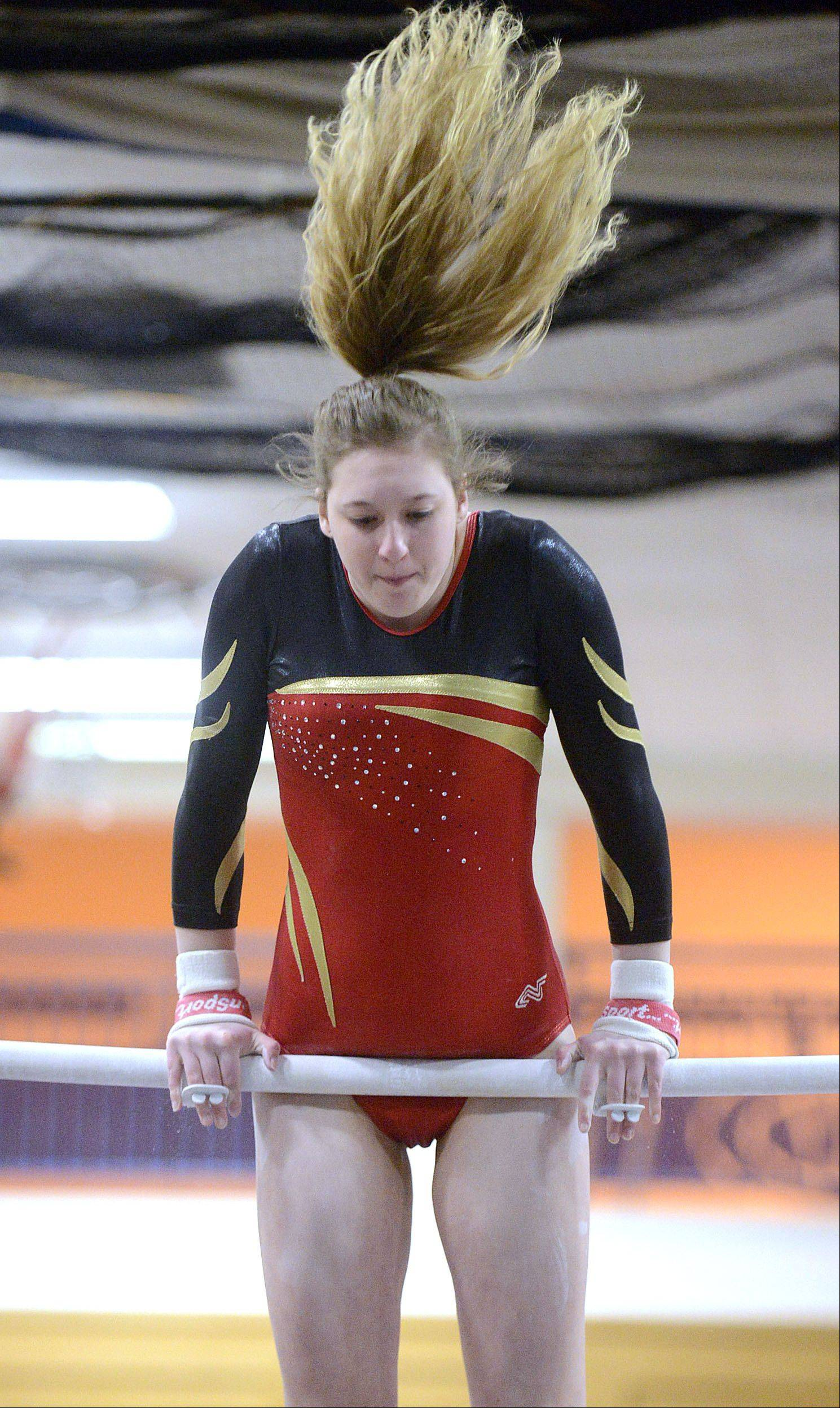 Batavia's Kristi Zabka competes on the uneven bars during the gymnastics meet vs. Geneva on Wednesday, January 8.